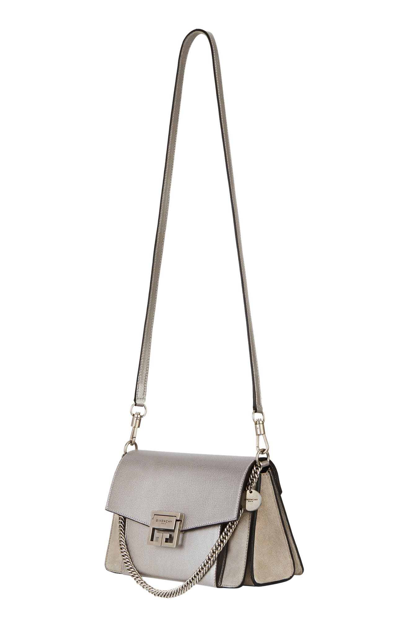 GIVENCHY,                             Small GV3 Leather & Suede Crossbody Bag,                             Alternate thumbnail 4, color,                             SILVER/ NATURAL