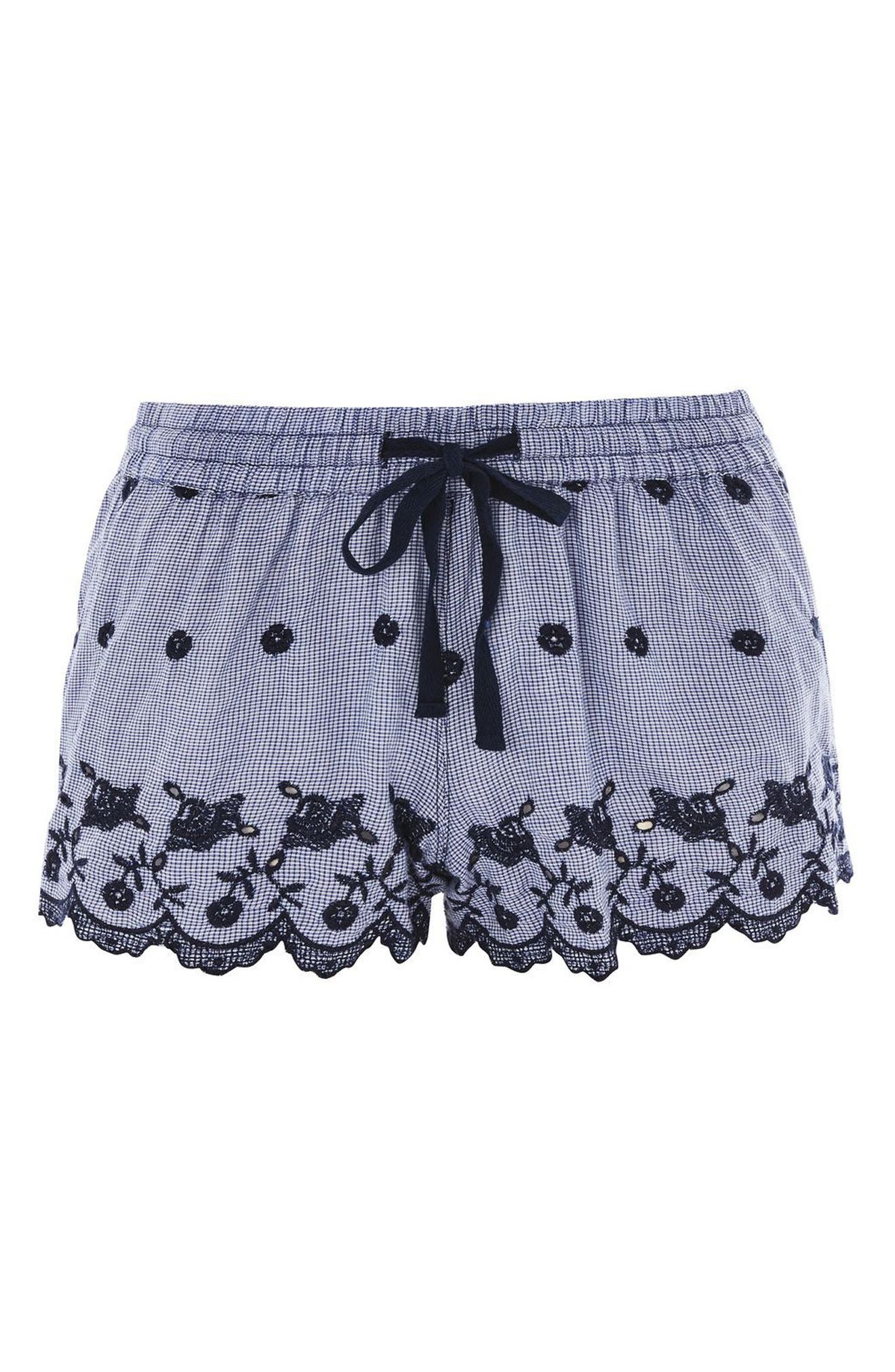 Cotton Gingham Pajama Shorts,                             Alternate thumbnail 3, color,                             410