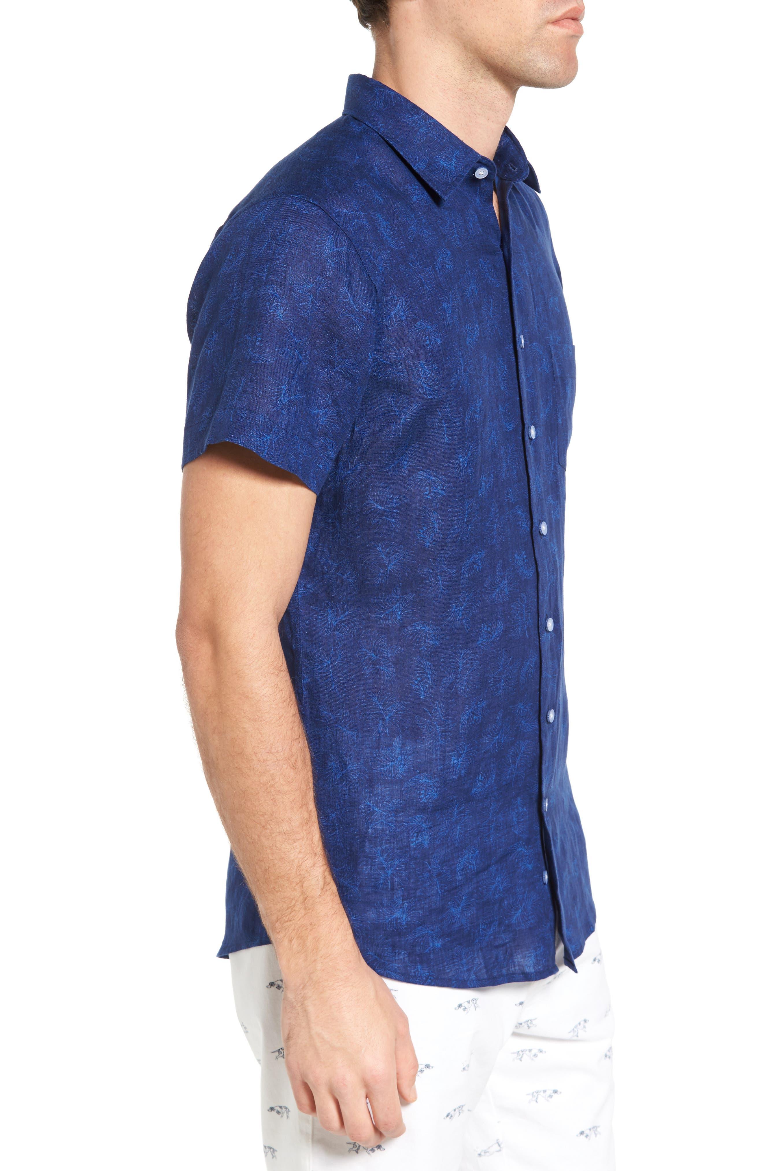 Hampton Downs Sports Fit Linen Sport Shirt,                             Alternate thumbnail 3, color,                             423