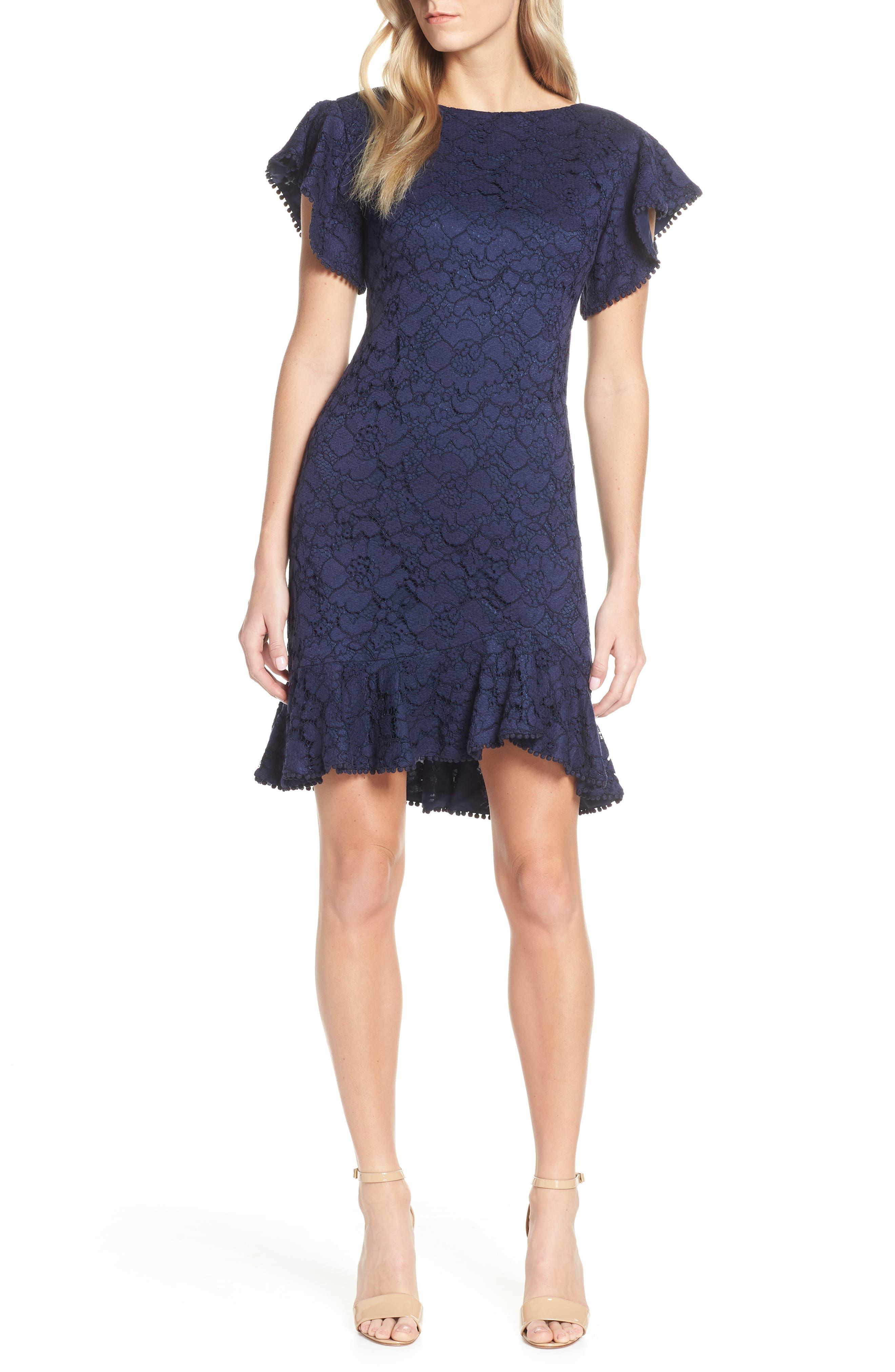 Vince Camuto Flutter Sleeve Lace Dress, Blue