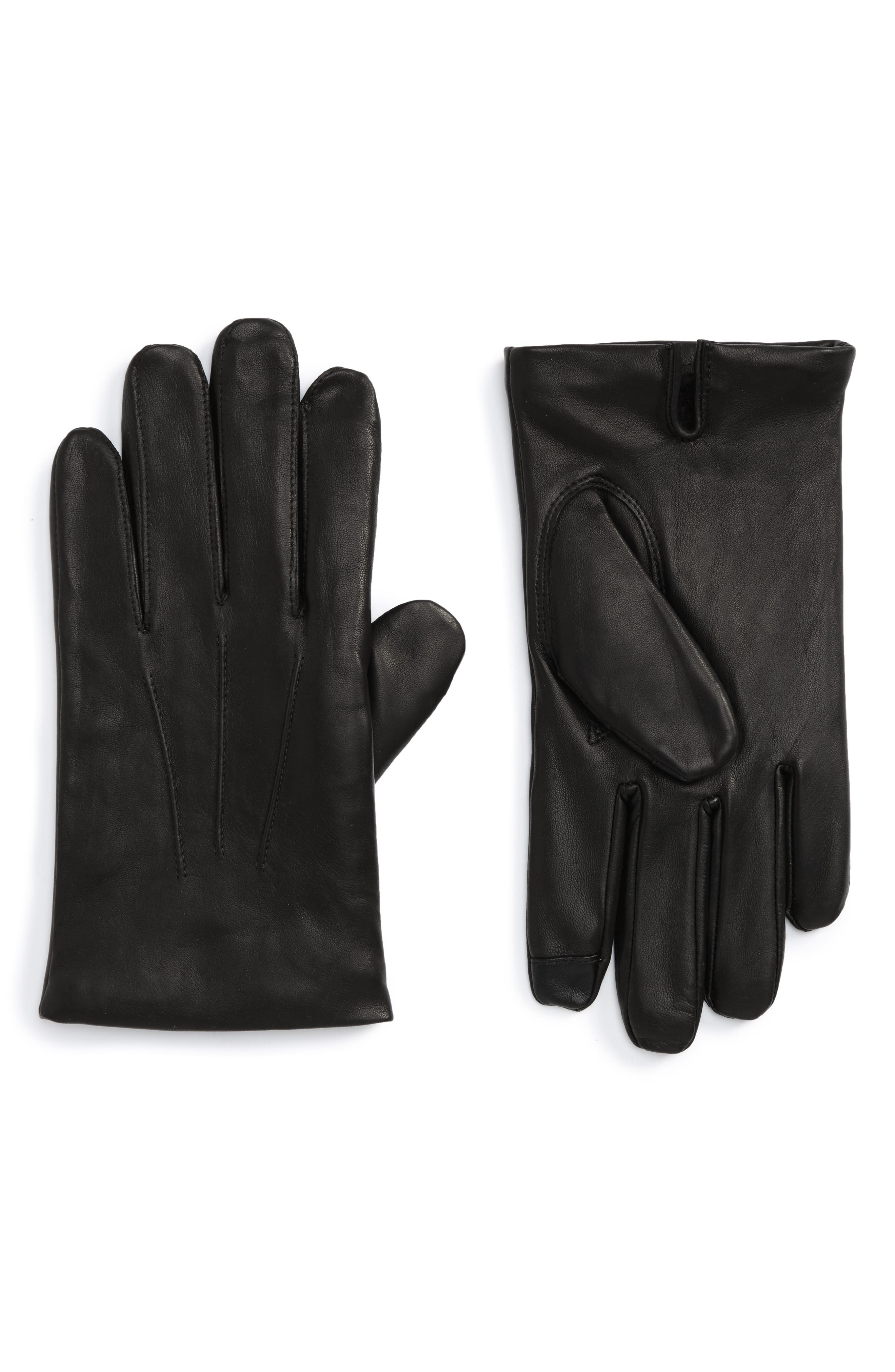 Leather Gloves,                         Main,                         color, BLACK