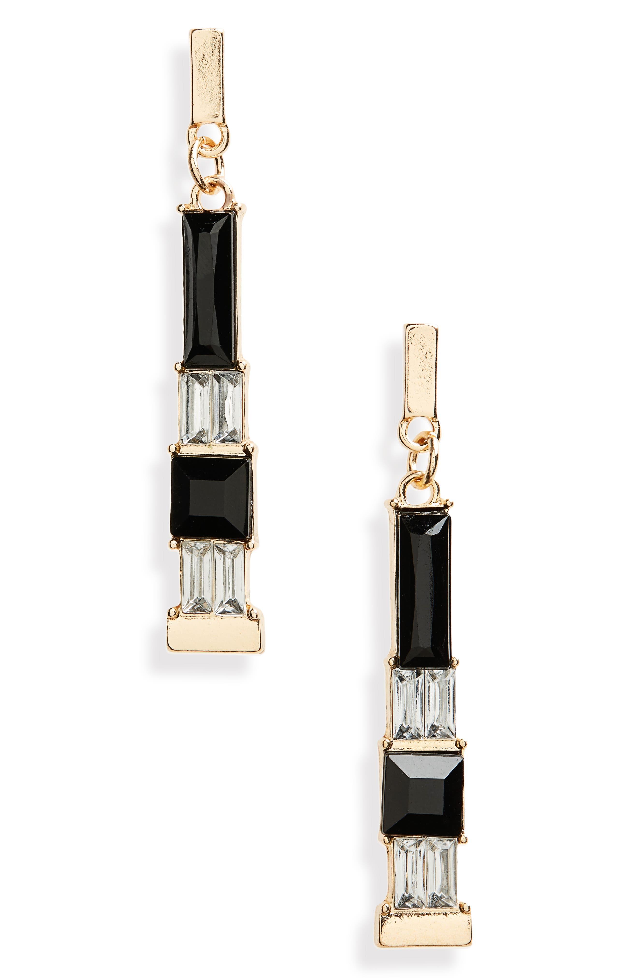 Geometric Stone Drop Earrings,                         Main,                         color, 001