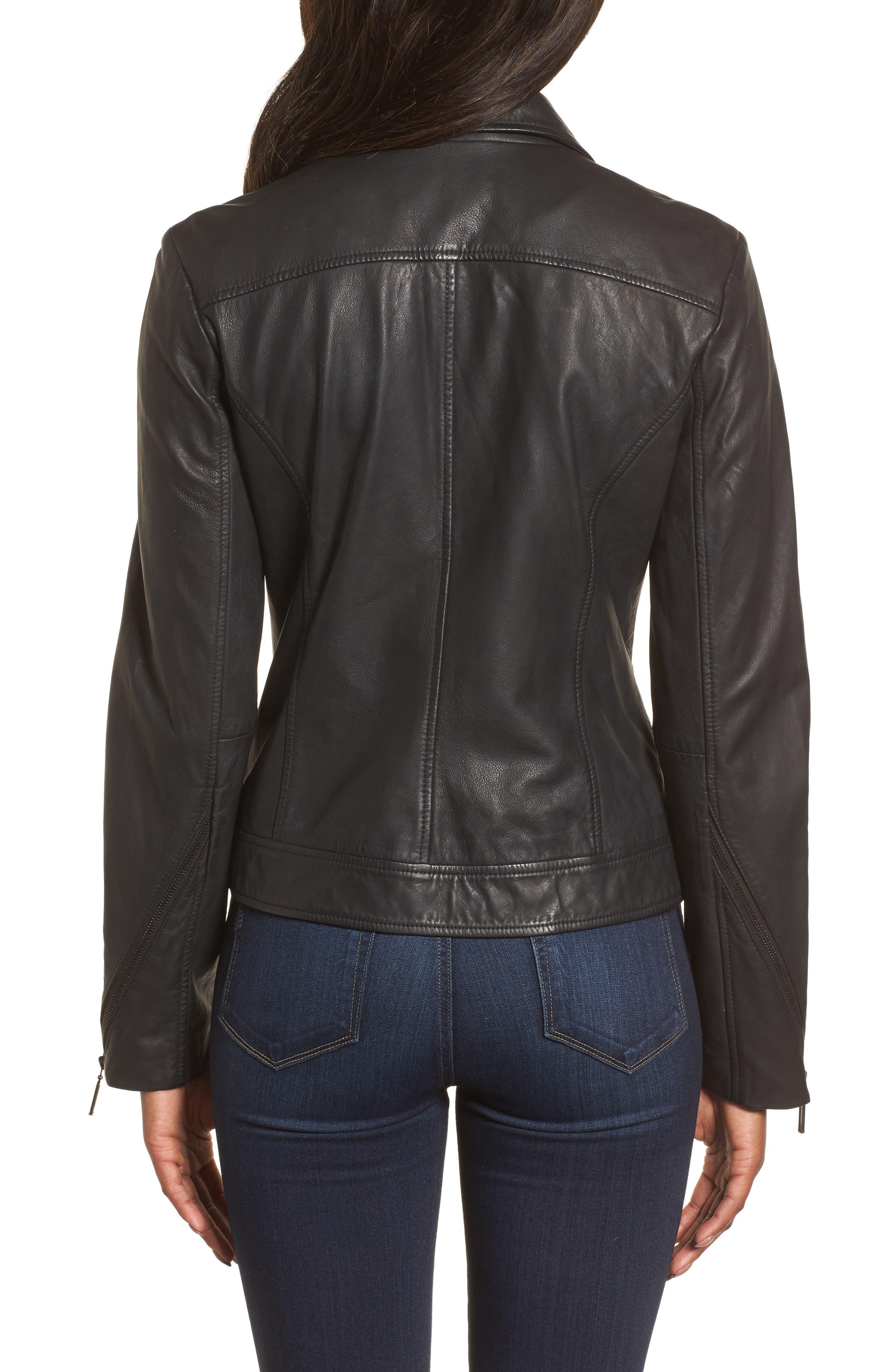 Moto Zip Leather Jacket,                             Alternate thumbnail 3, color,