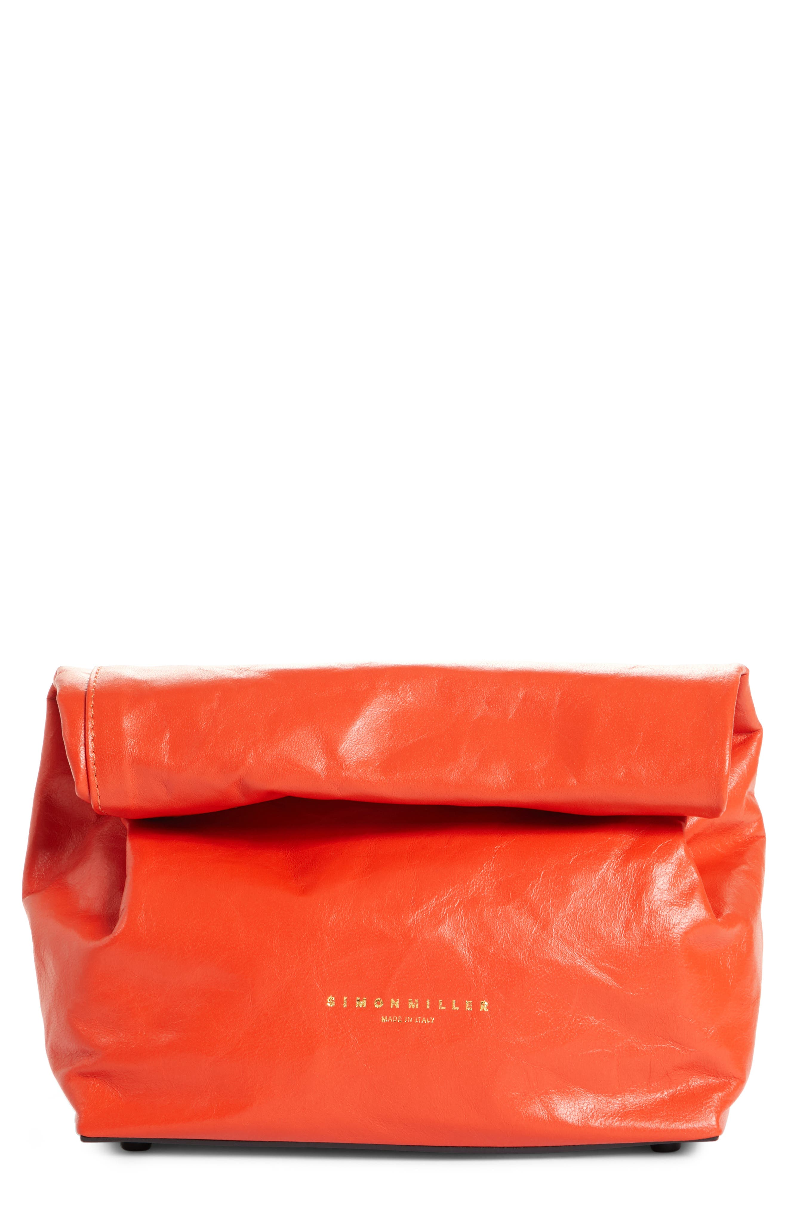SIMON MILLER,                             Lunchbag Leather Roll Top Clutch,                             Main thumbnail 1, color,                             600