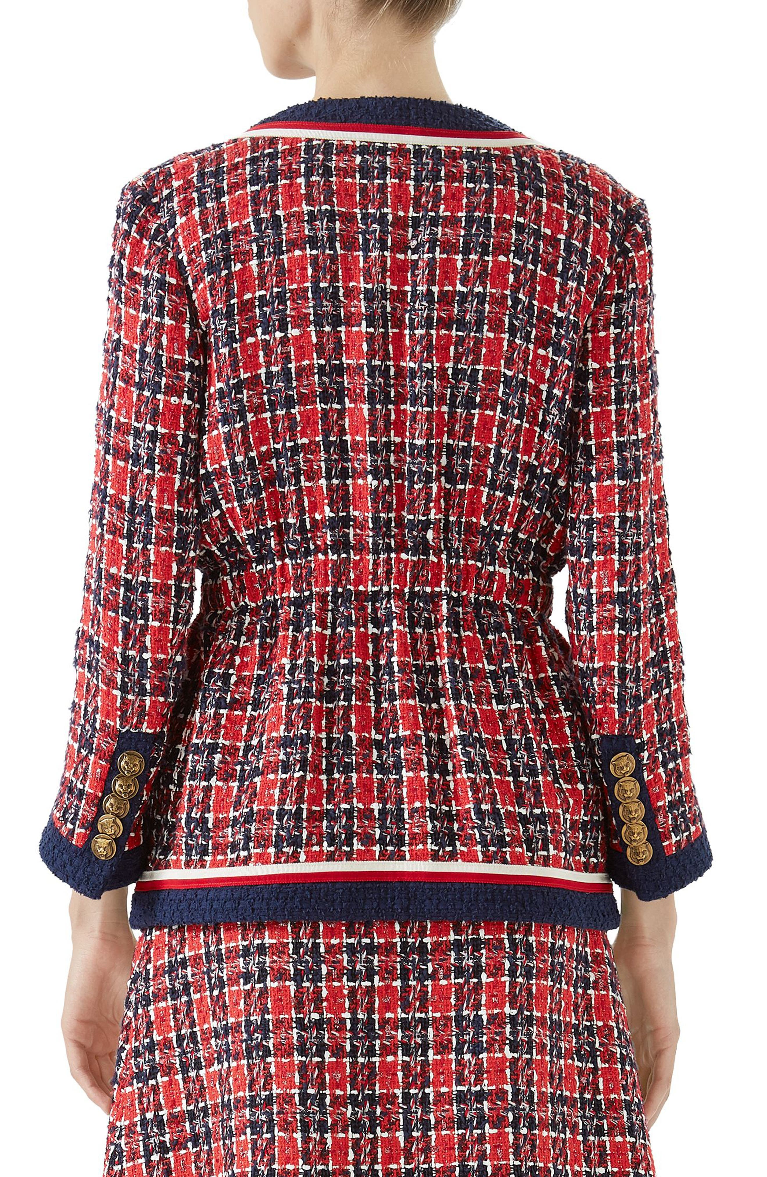 Cinch Waist Tweed Jacket,                             Alternate thumbnail 2, color,                             ROYAL BLUE/ RED