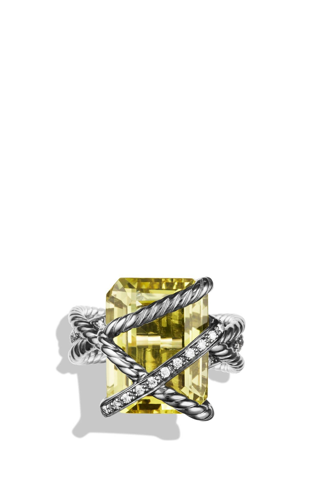 'Cable Wrap' Ring with Lemon Citrine and Diamonds,                             Alternate thumbnail 4, color,                             720