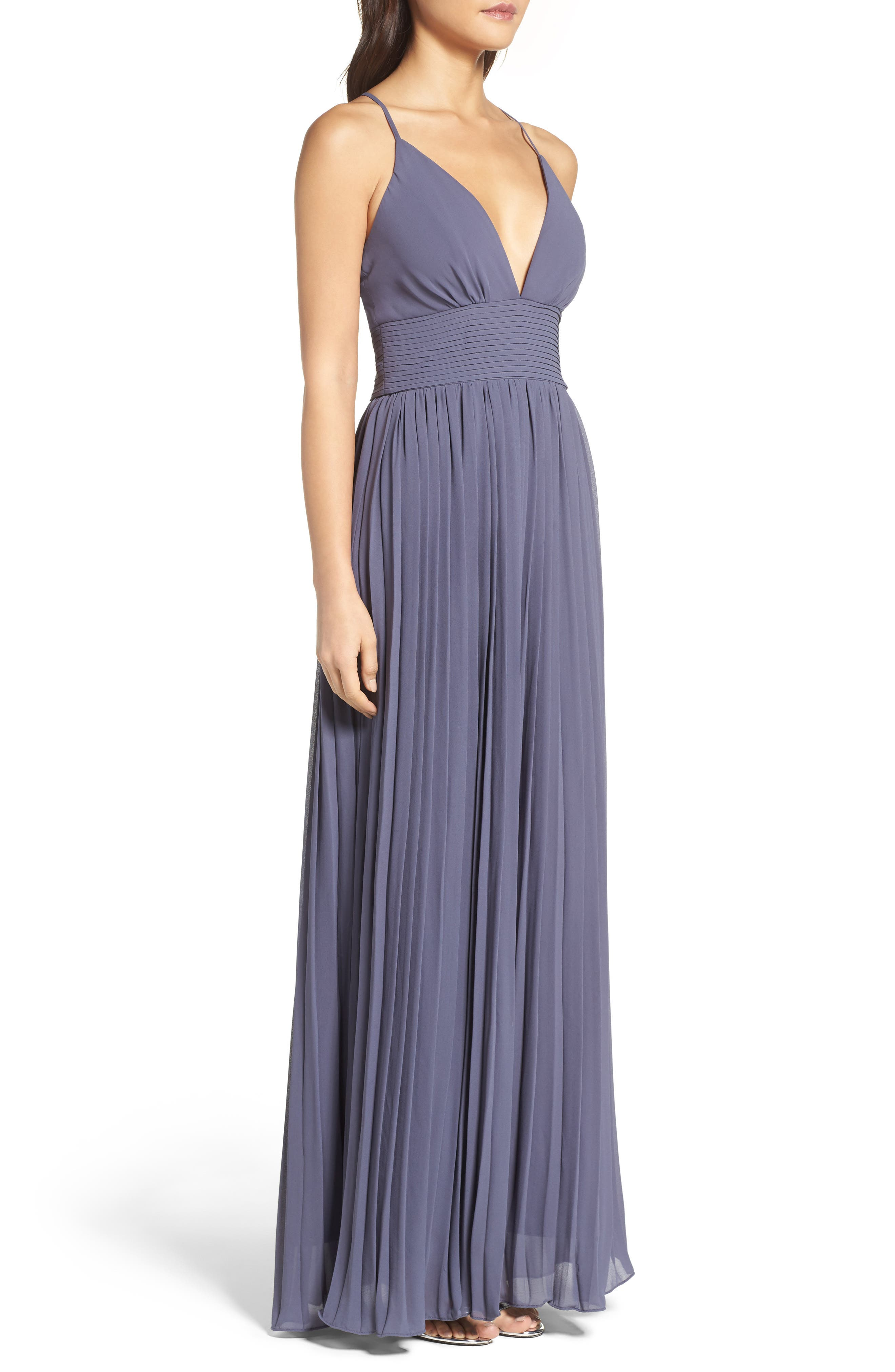 Plunging V-Neck Pleat Georgette Gown,                             Alternate thumbnail 23, color,