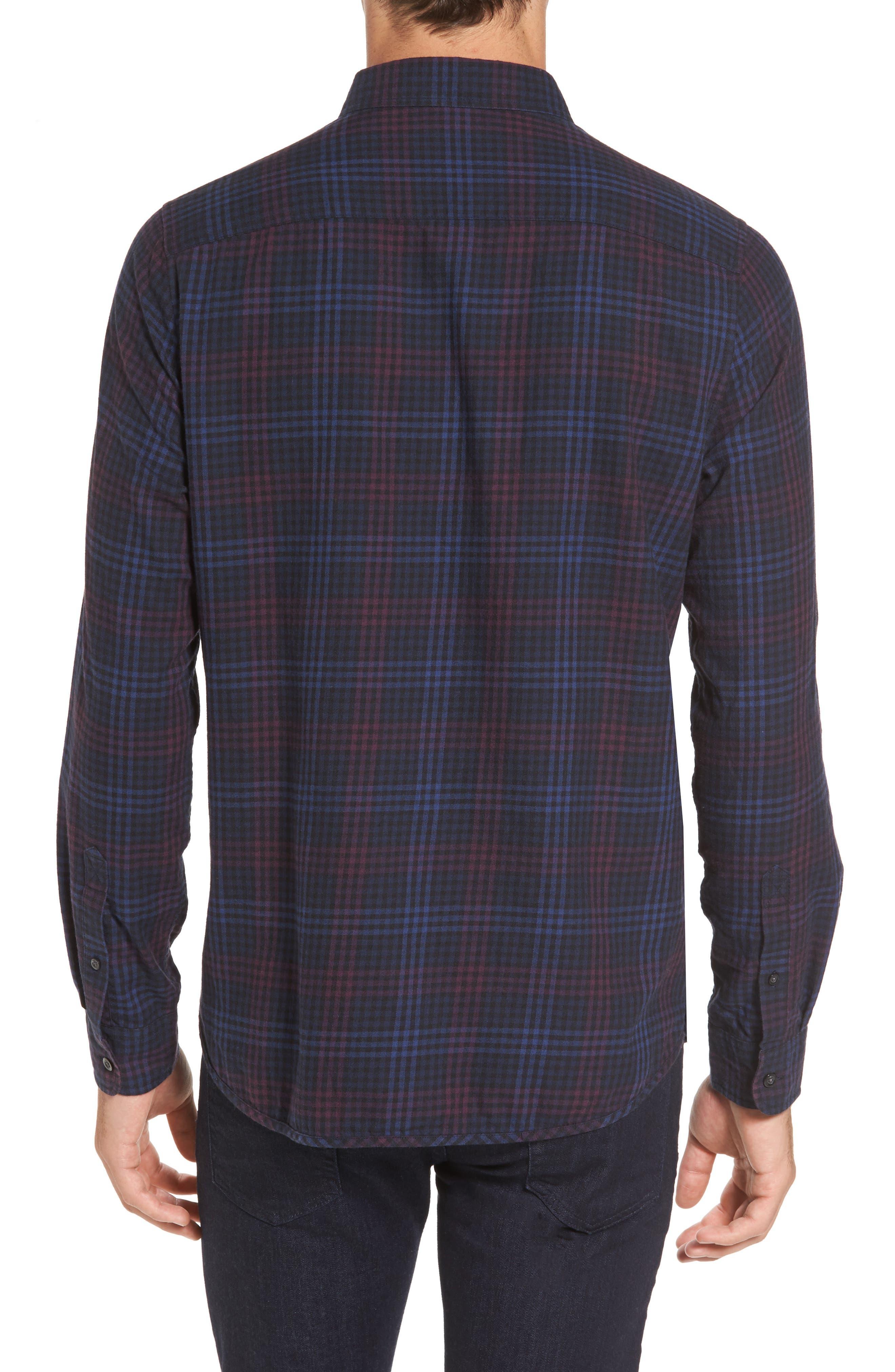 Trim Fit Plaid Flannel Sport Shirt,                             Alternate thumbnail 2, color,                             410