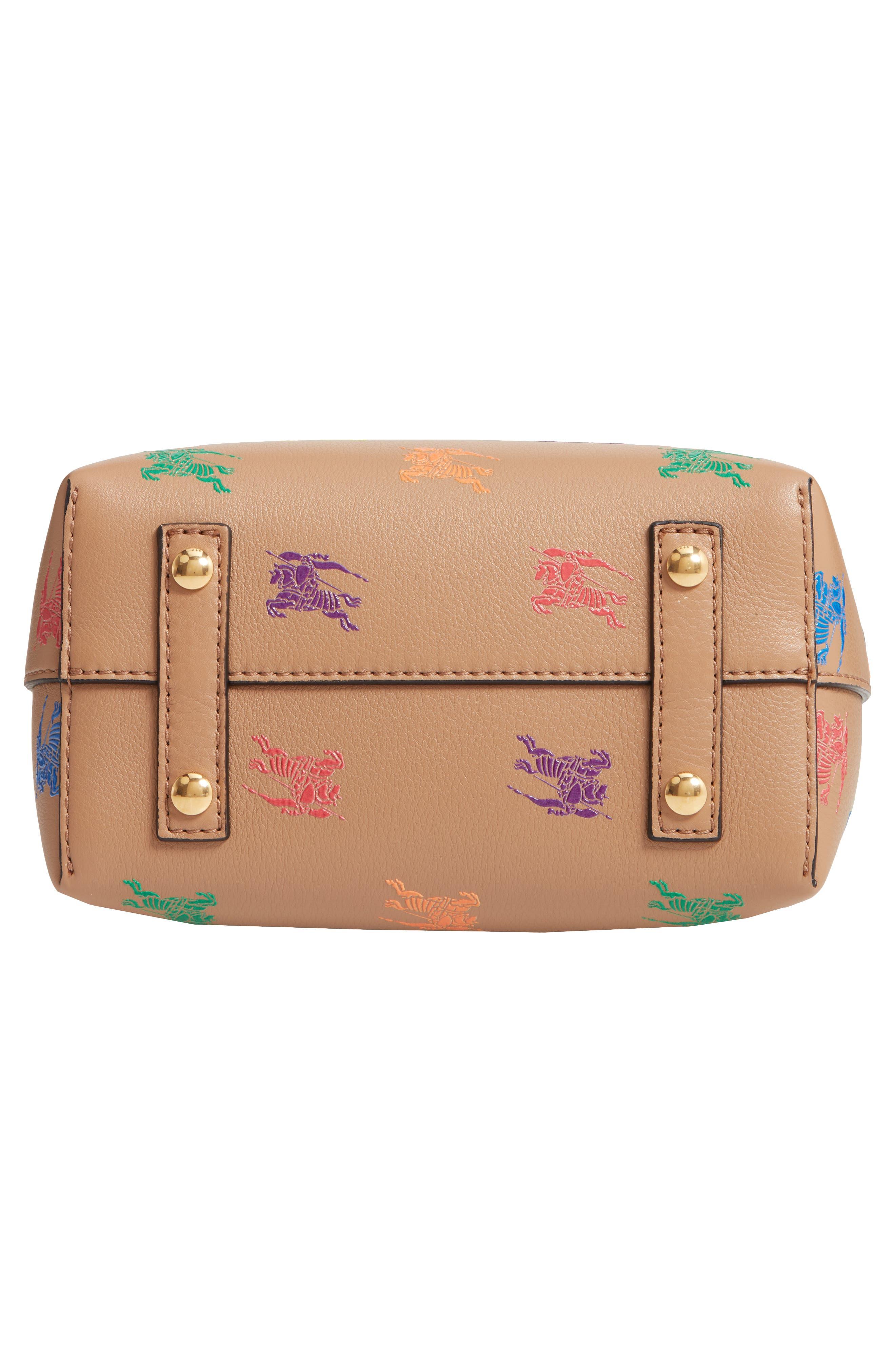 Baby Belt Bag Rainbow Logo Leather Tote,                             Alternate thumbnail 6, color,                             LIGHT CAMEL