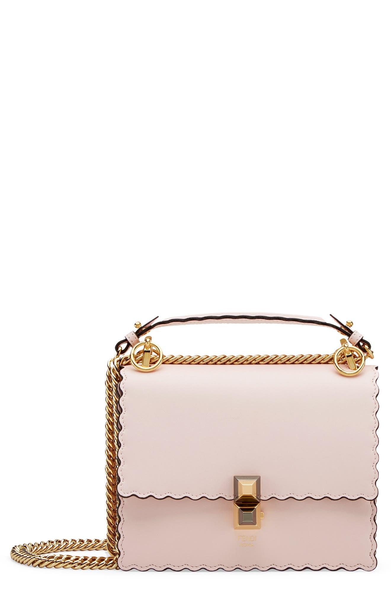 Mini Kan I Scalloped Leather Shoulder Bag,                             Main thumbnail 1, color,                             CONFETTO/ ORO SOFT