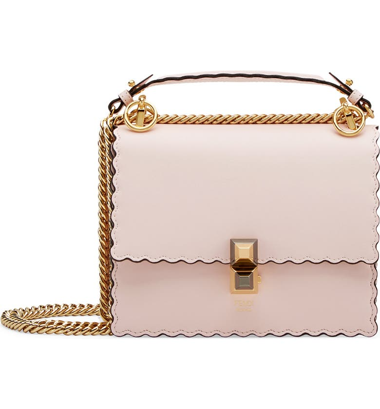 Buffed calfskin shoulder bag in confetto pink. Scalloped edges throughout.  Detachable sliding curb chain shoulder strap with leather strap pad and  post-stud ... 545f4e0aae4e0