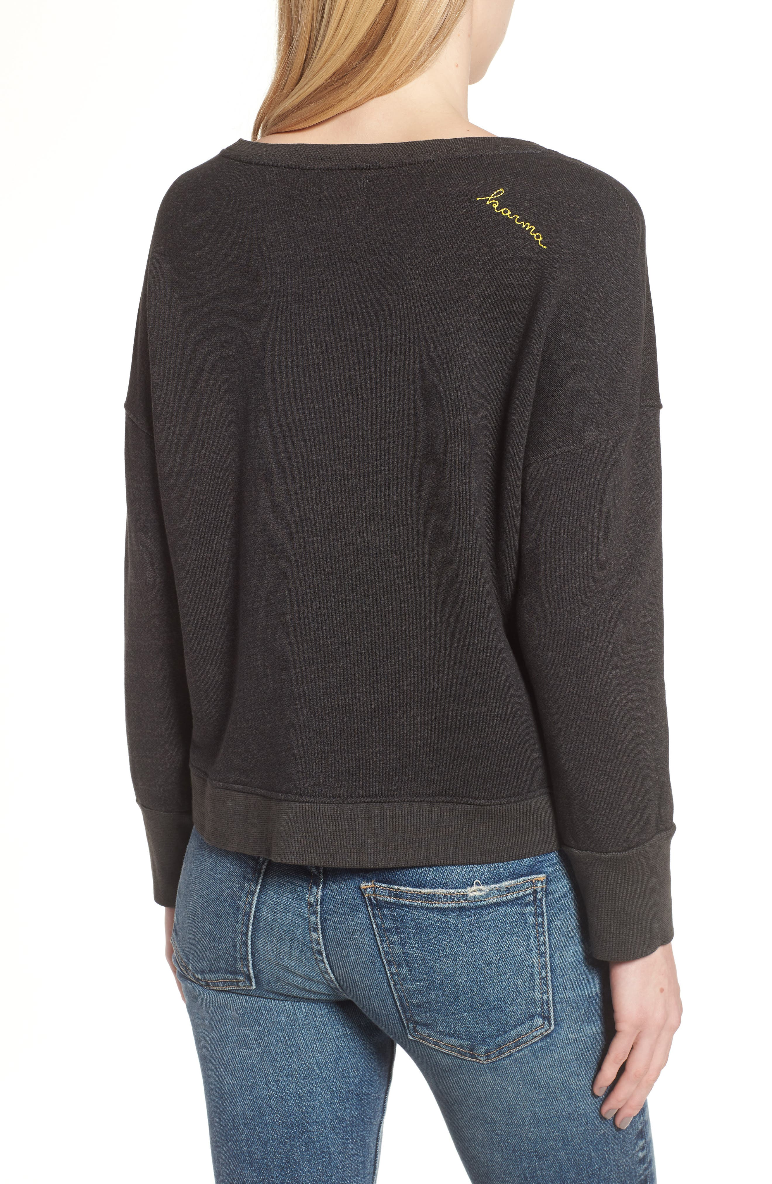 Karma Lace-Up Pullover,                             Alternate thumbnail 2, color,                             001
