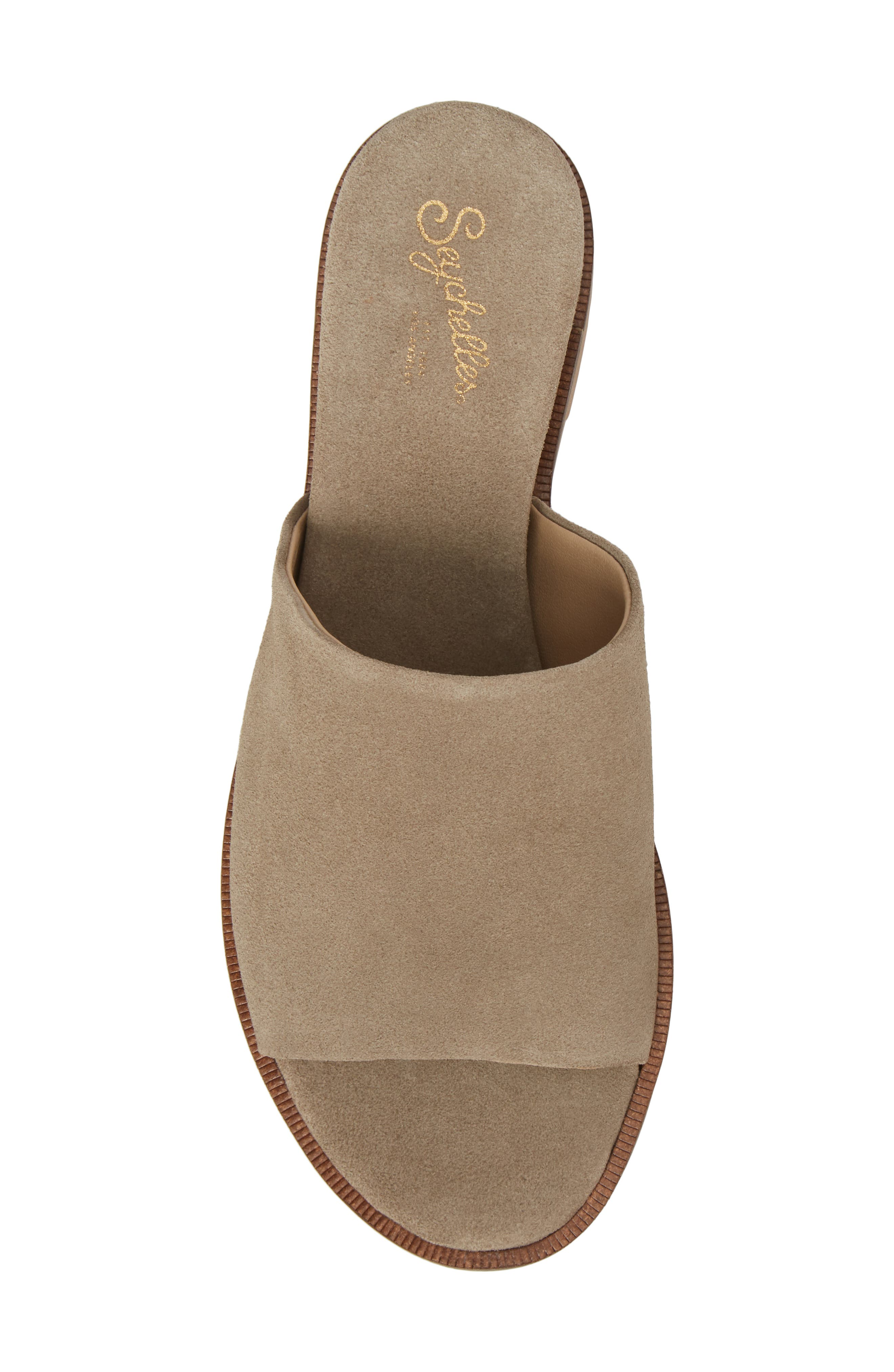 Relaxing Wedge Slide Sandal,                             Alternate thumbnail 5, color,                             TAUPE LEATHER