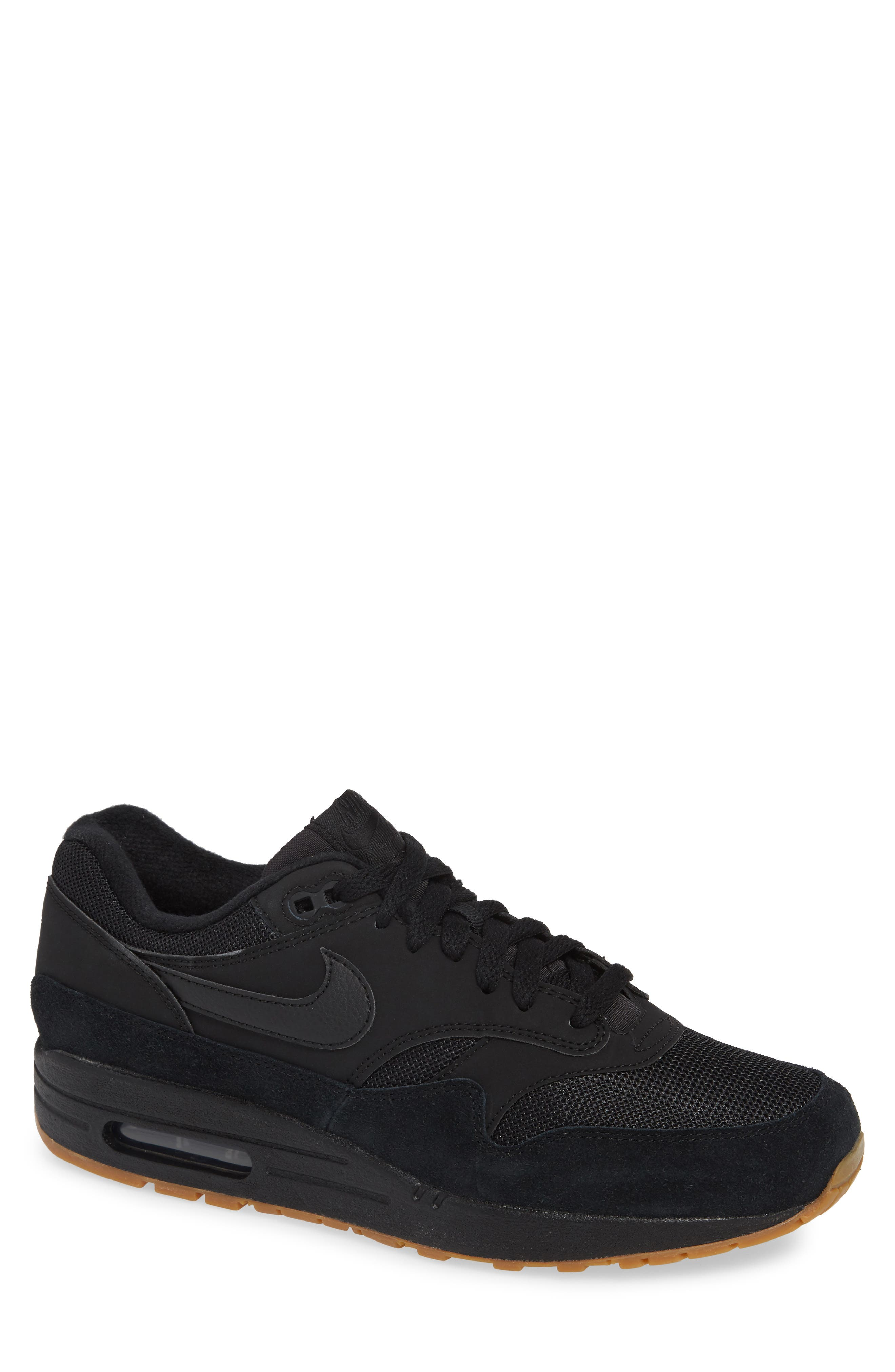 Air Max 1 Sneaker,                         Main,                         color, BLACK/ BLACK/ GUM MEDIUM BROWN