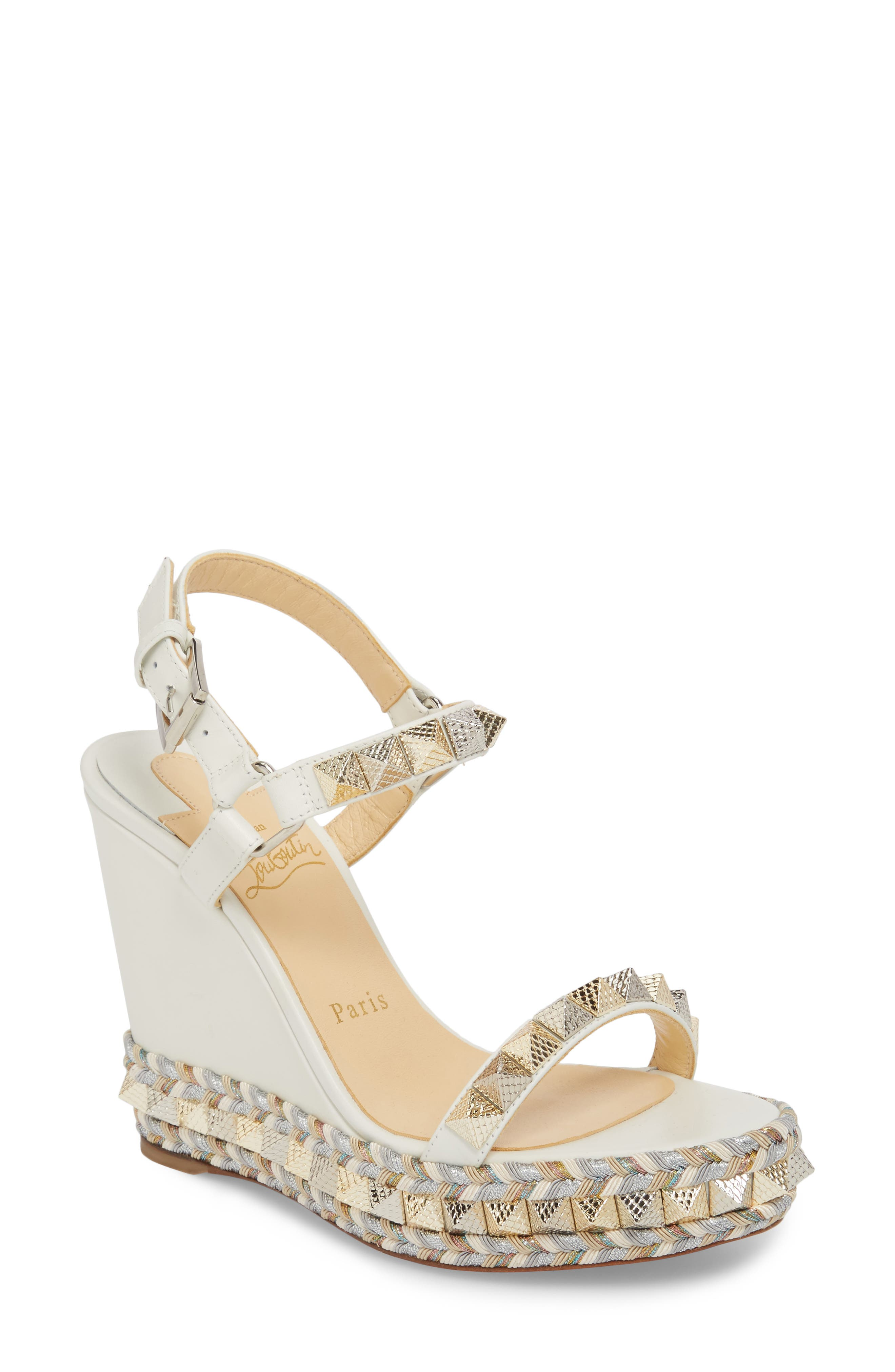 Pyraclou Wedge Sandal,                             Main thumbnail 1, color,                             LATTE WHITE