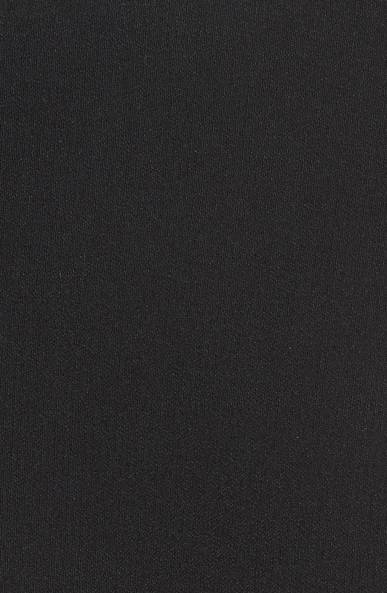 Belted Wool Blend Pebble Crepe Blazer,                             Alternate thumbnail 7, color,                             BLACK