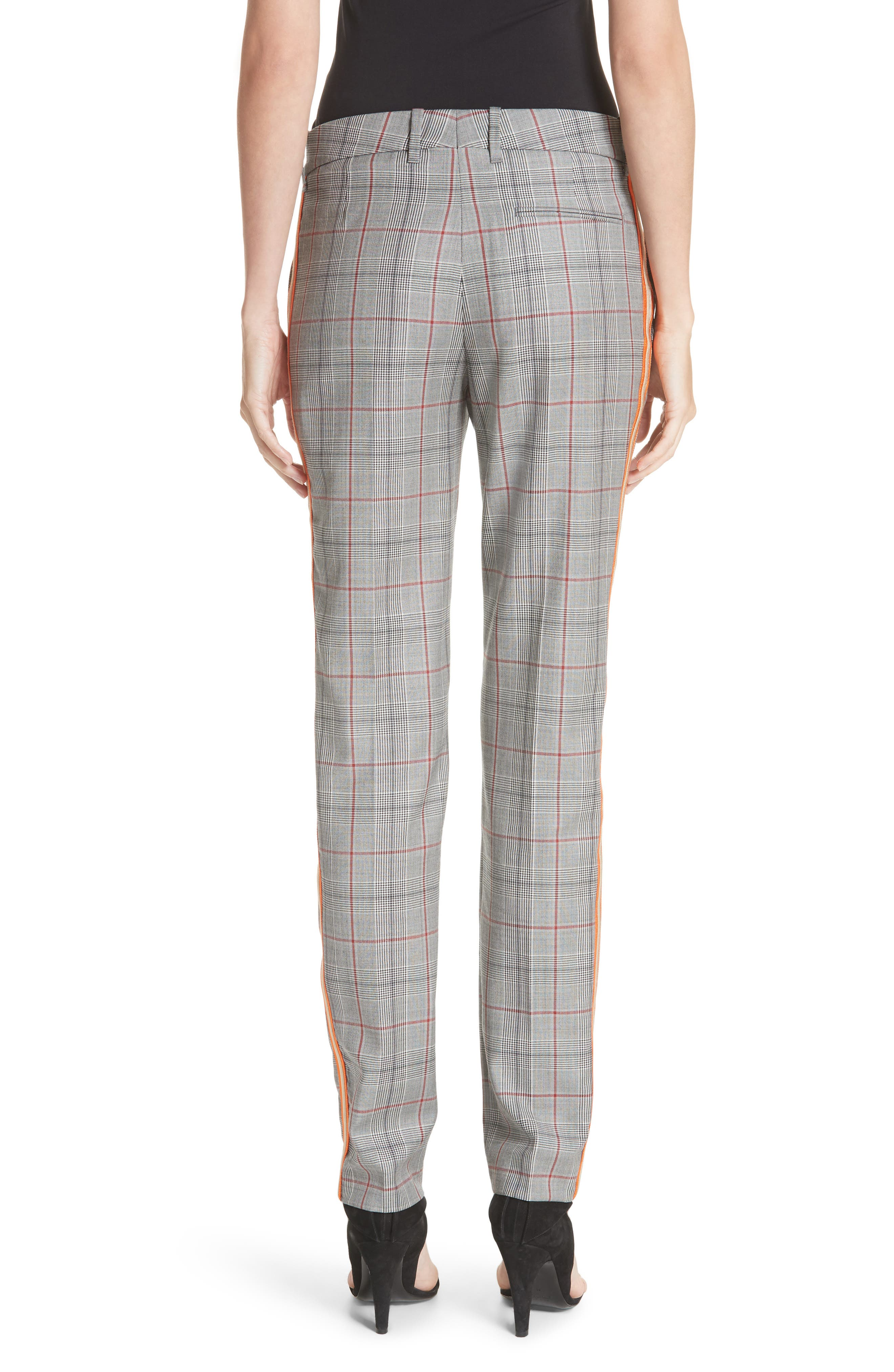 Side Stripe Plaid Wool Pants,                             Alternate thumbnail 2, color,                             BLACK WHITE GRENADINE