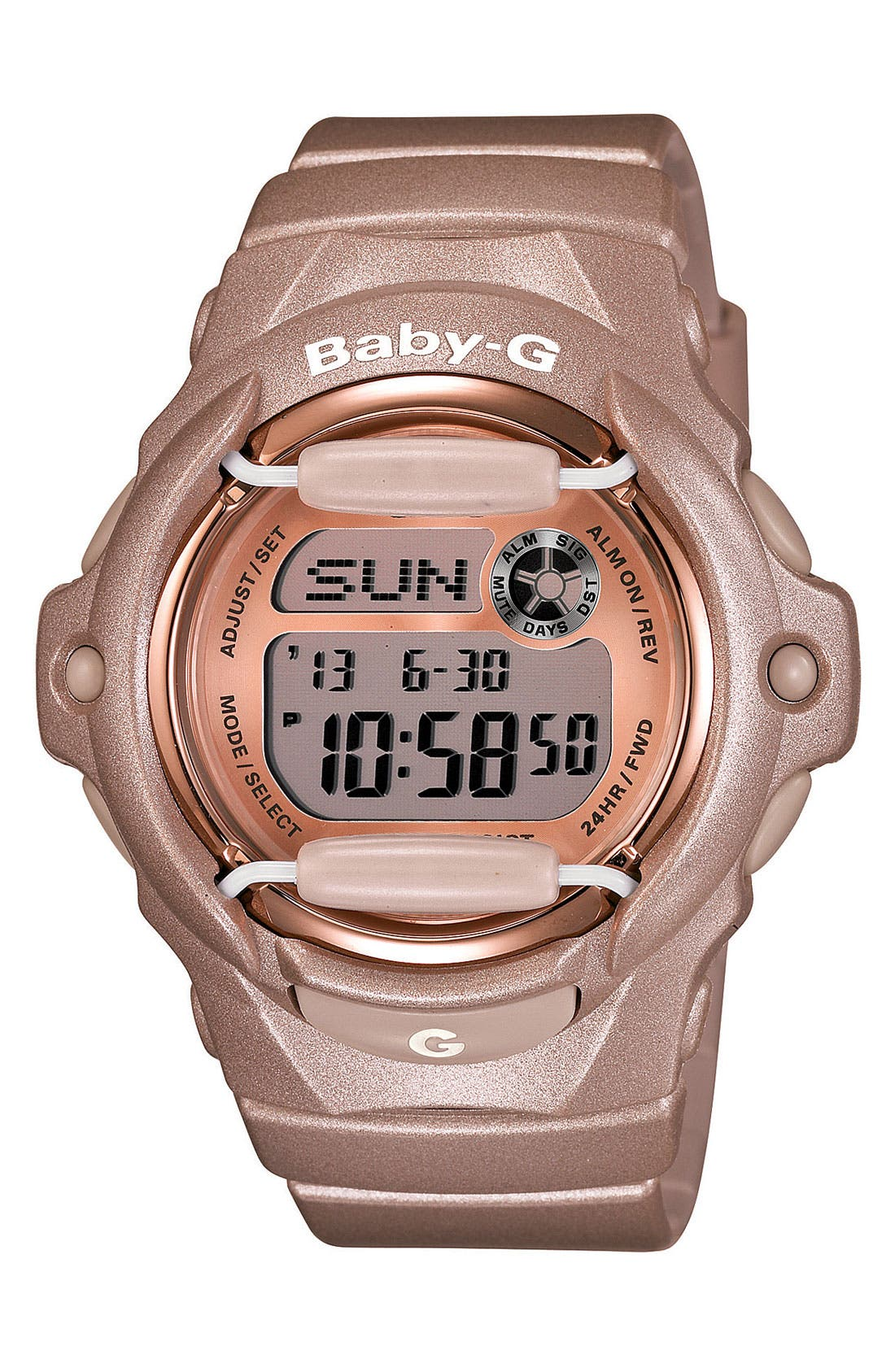 Baby-G Pink Dial Digital Watch, 46mm x 42mm,                             Main thumbnail 1, color,                             CHAMPAGNE PINK