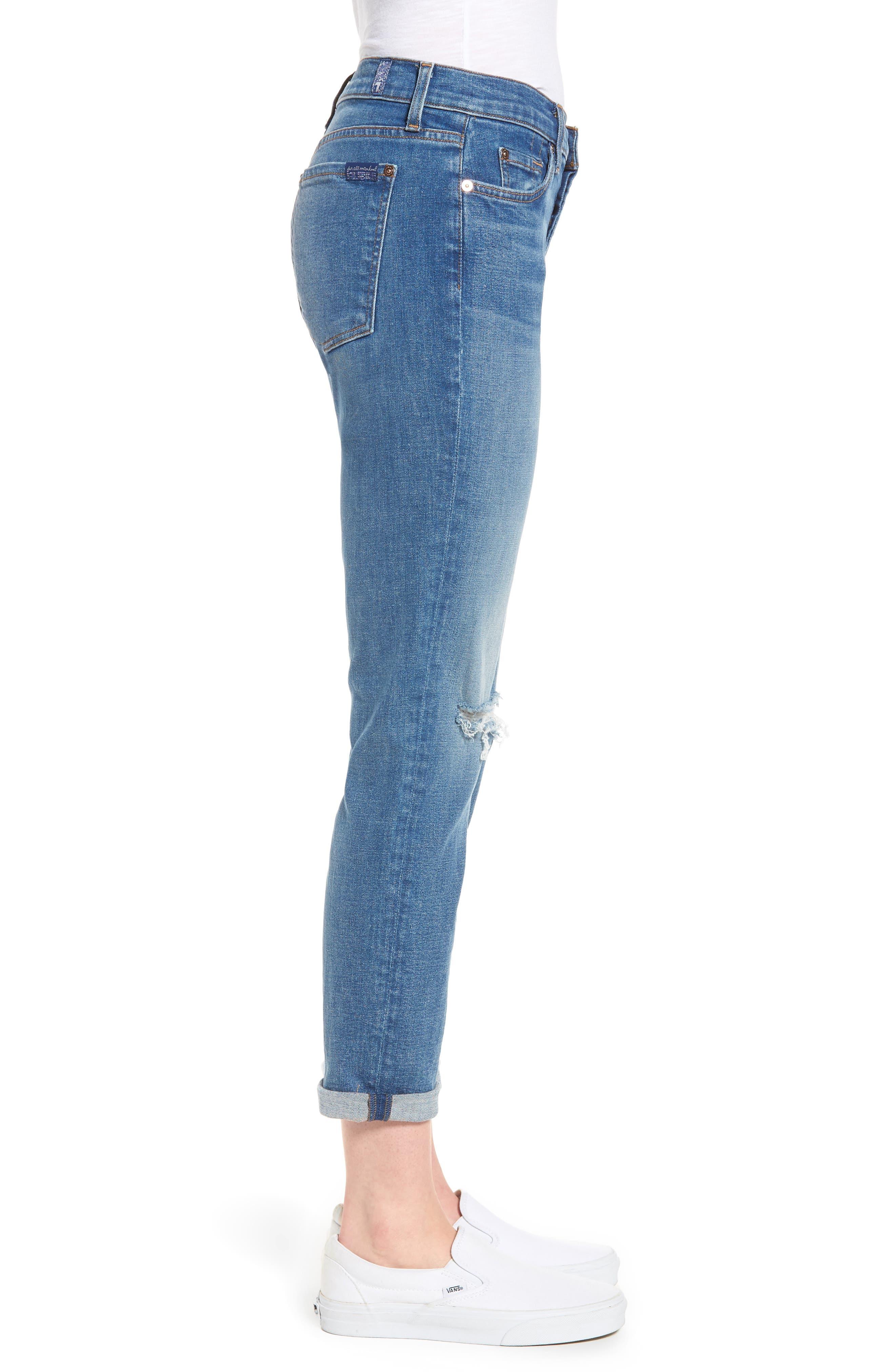 Josefina Ripped Boyfriend Jeans,                             Alternate thumbnail 3, color,                             400