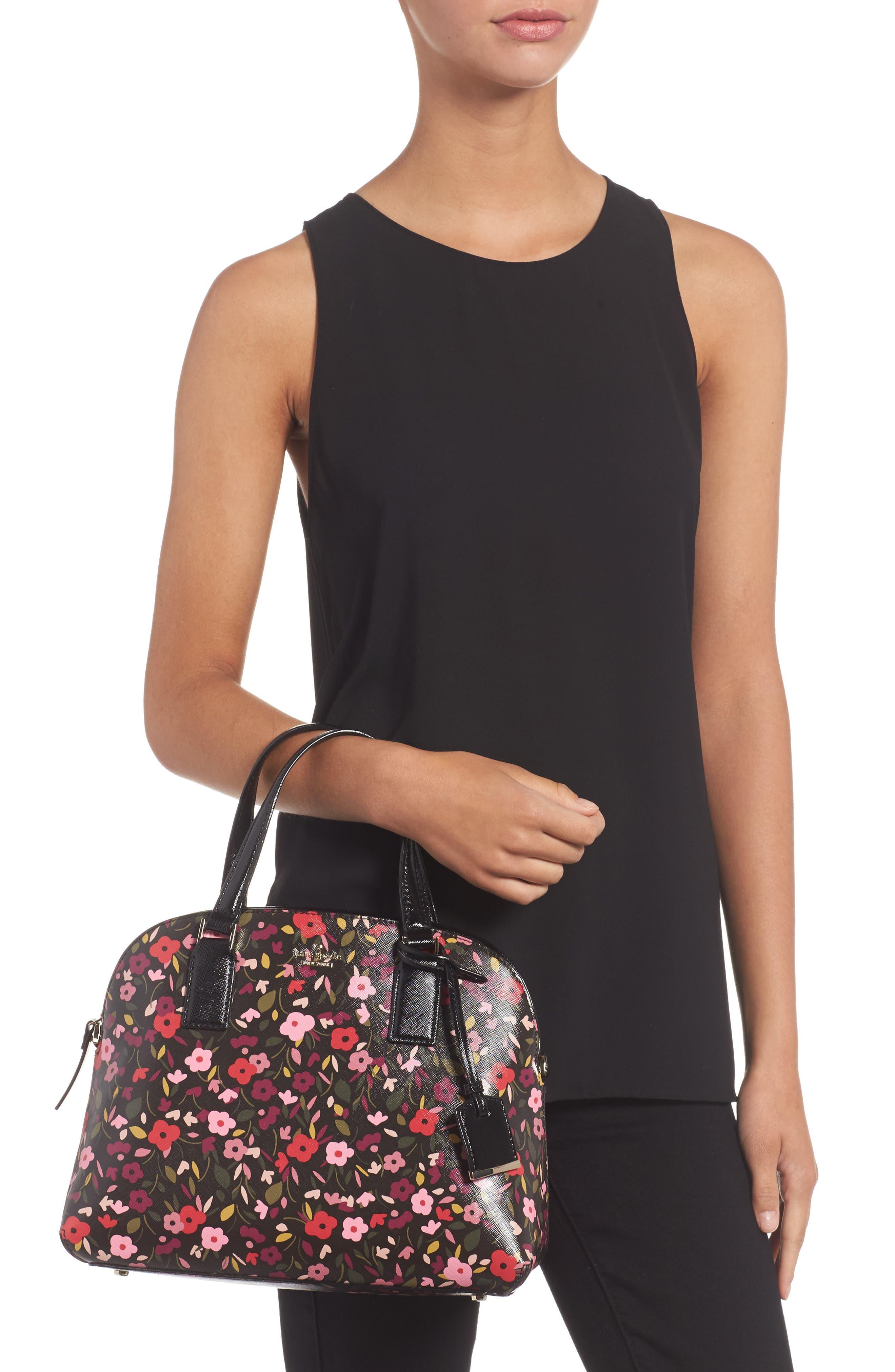 cameron street boho floral- lottie leather satchel,                             Alternate thumbnail 2, color,                             001