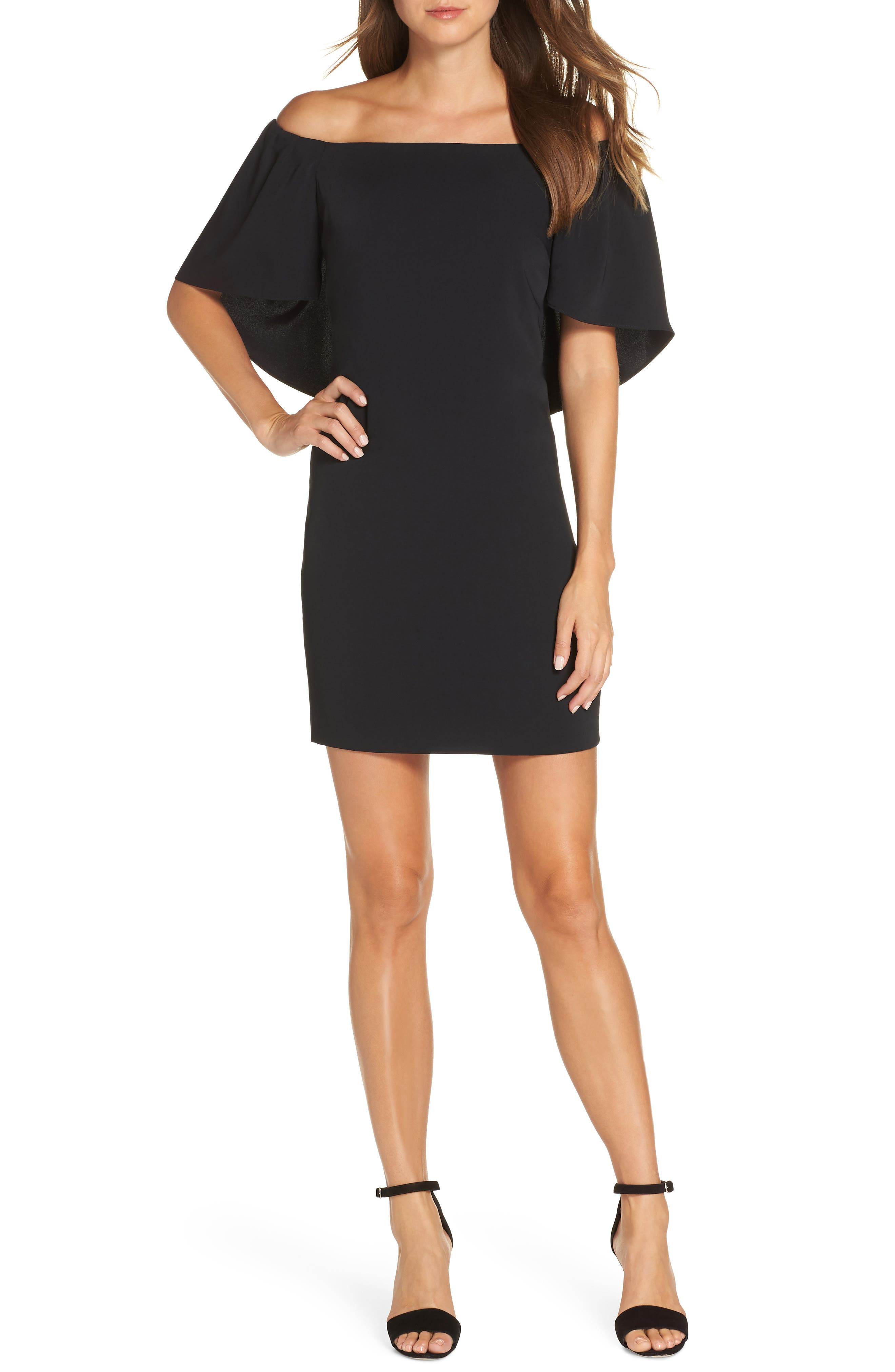 TRINA TRINA TURK,                             Zeal Off the Shoulder Dress,                             Main thumbnail 1, color,                             001