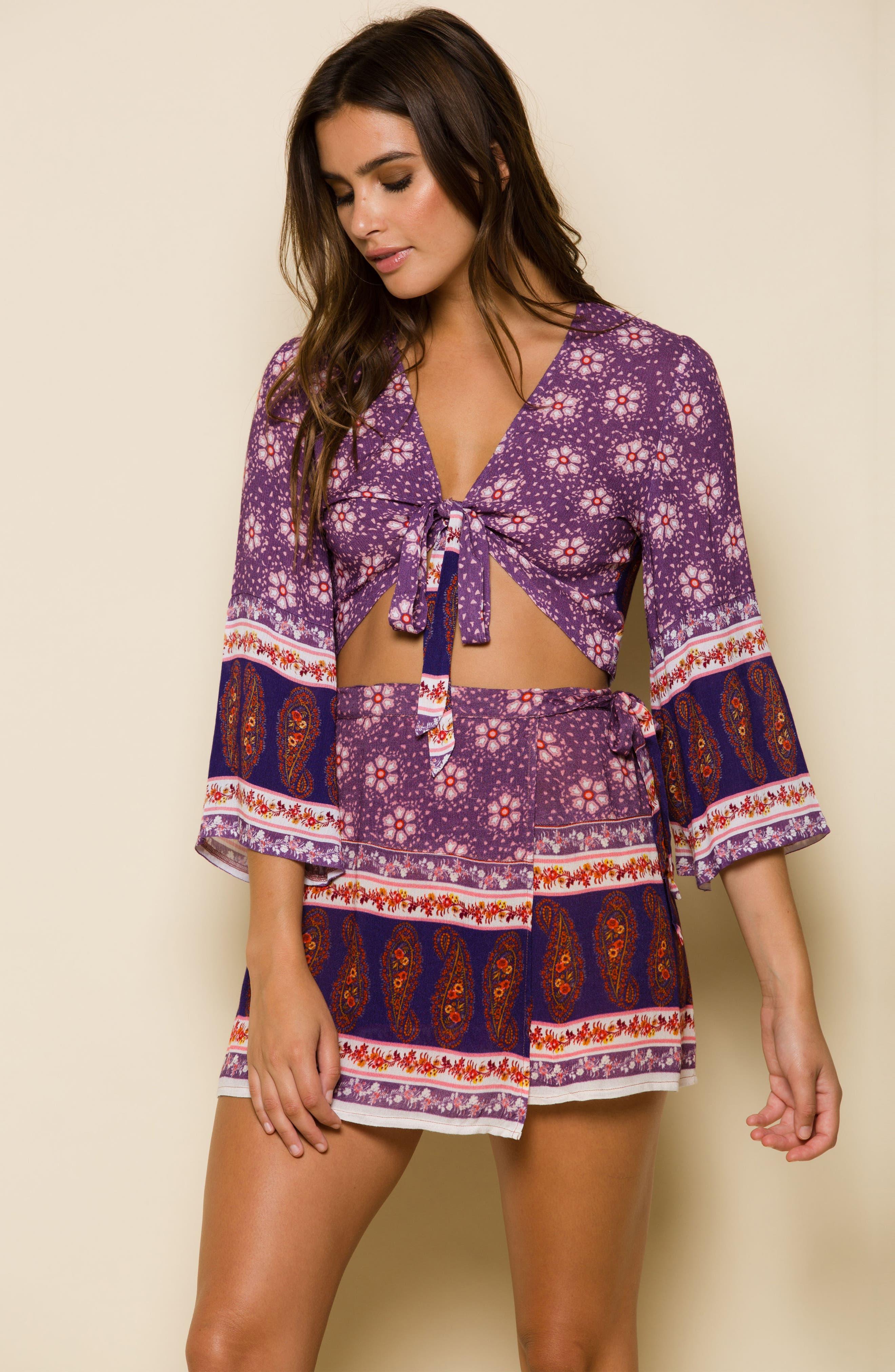 Dana Floral Wrap Skirt,                             Alternate thumbnail 8, color,                             500
