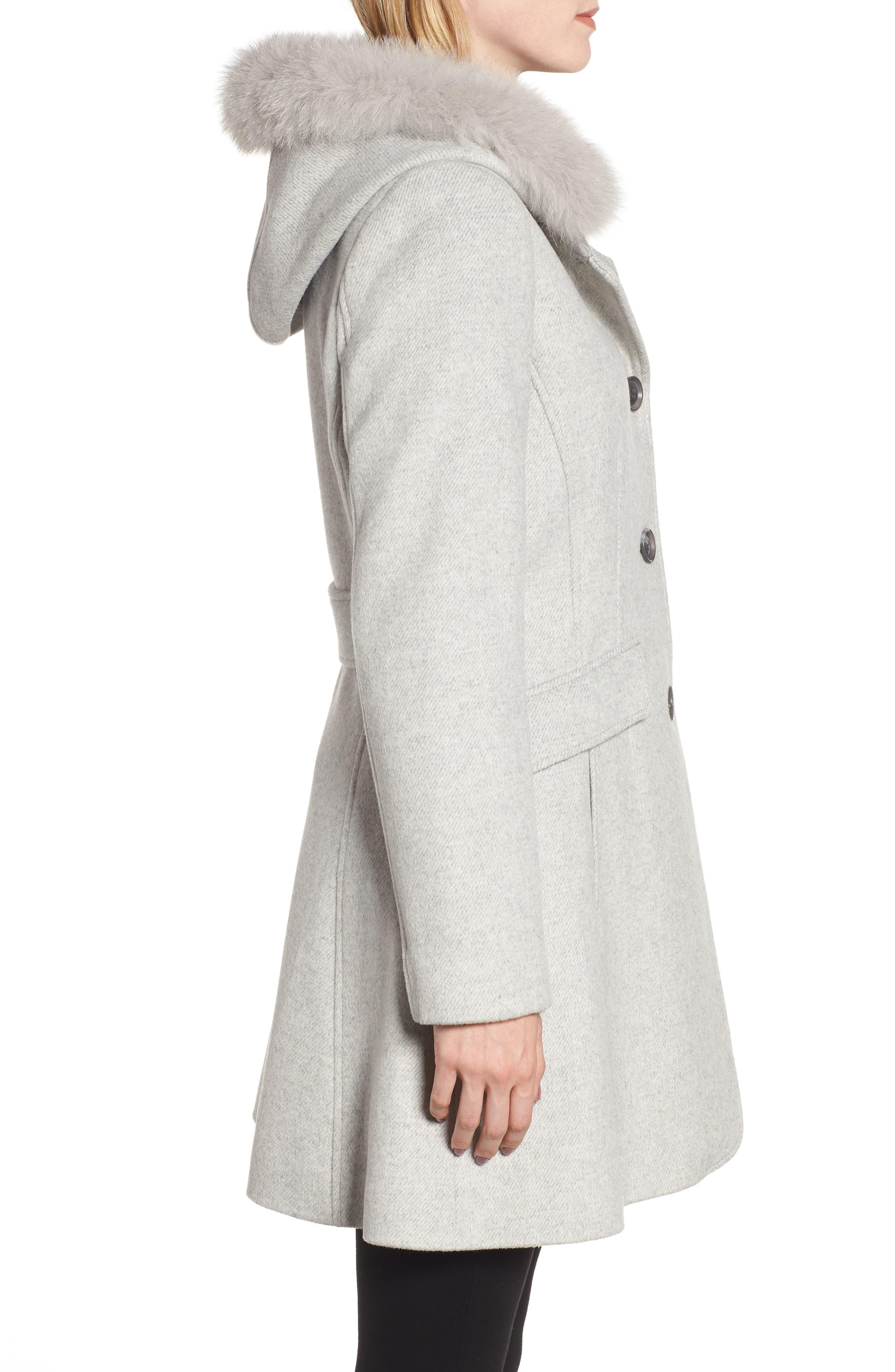 KRISTEN BLAKE,                             Genuine Fox Trim Hooded Wool Coat,                             Alternate thumbnail 3, color,                             GREY MELANGE