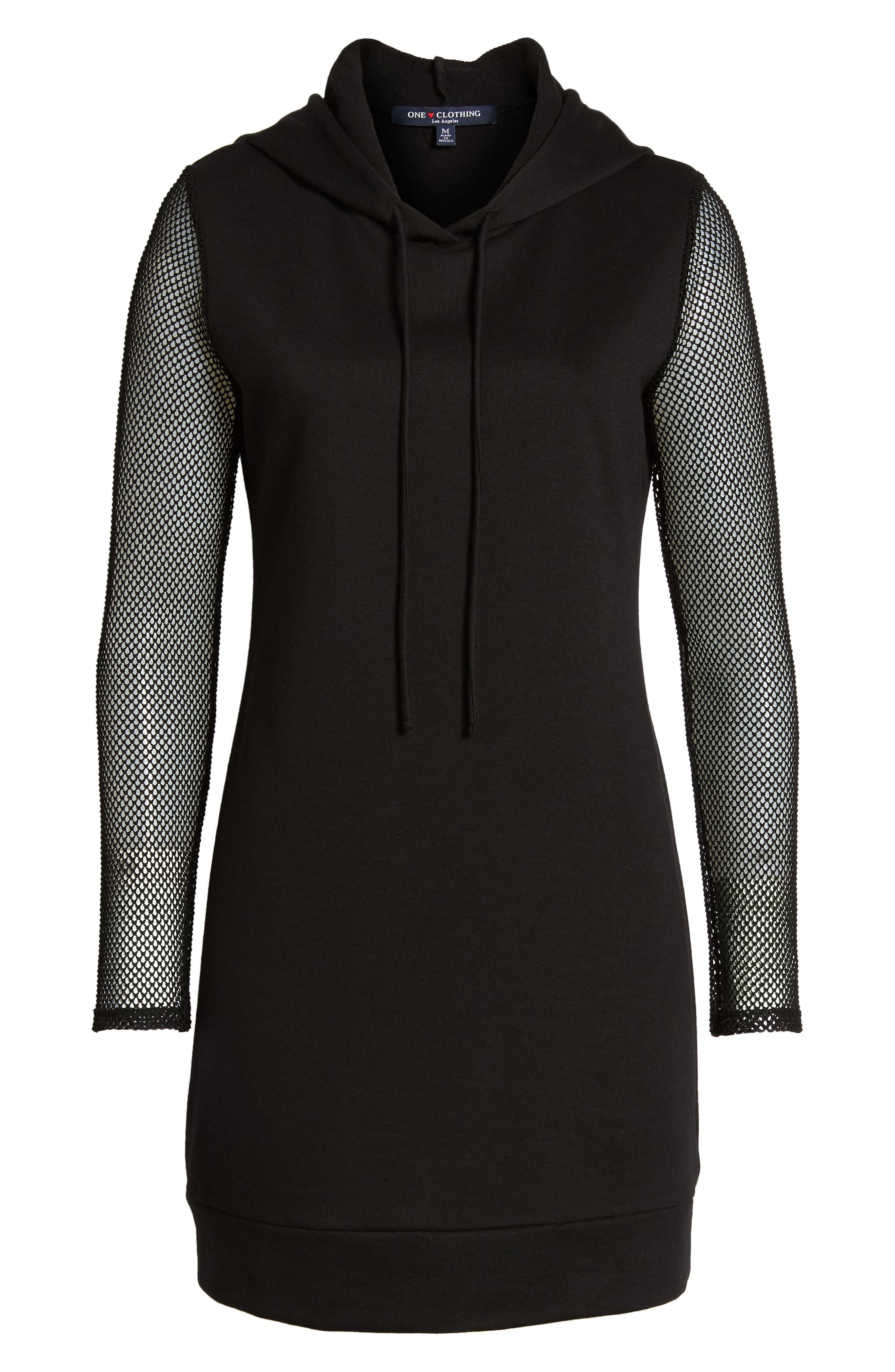 Mesh Sleeve Hoodie Dress,                             Alternate thumbnail 6, color,                             001