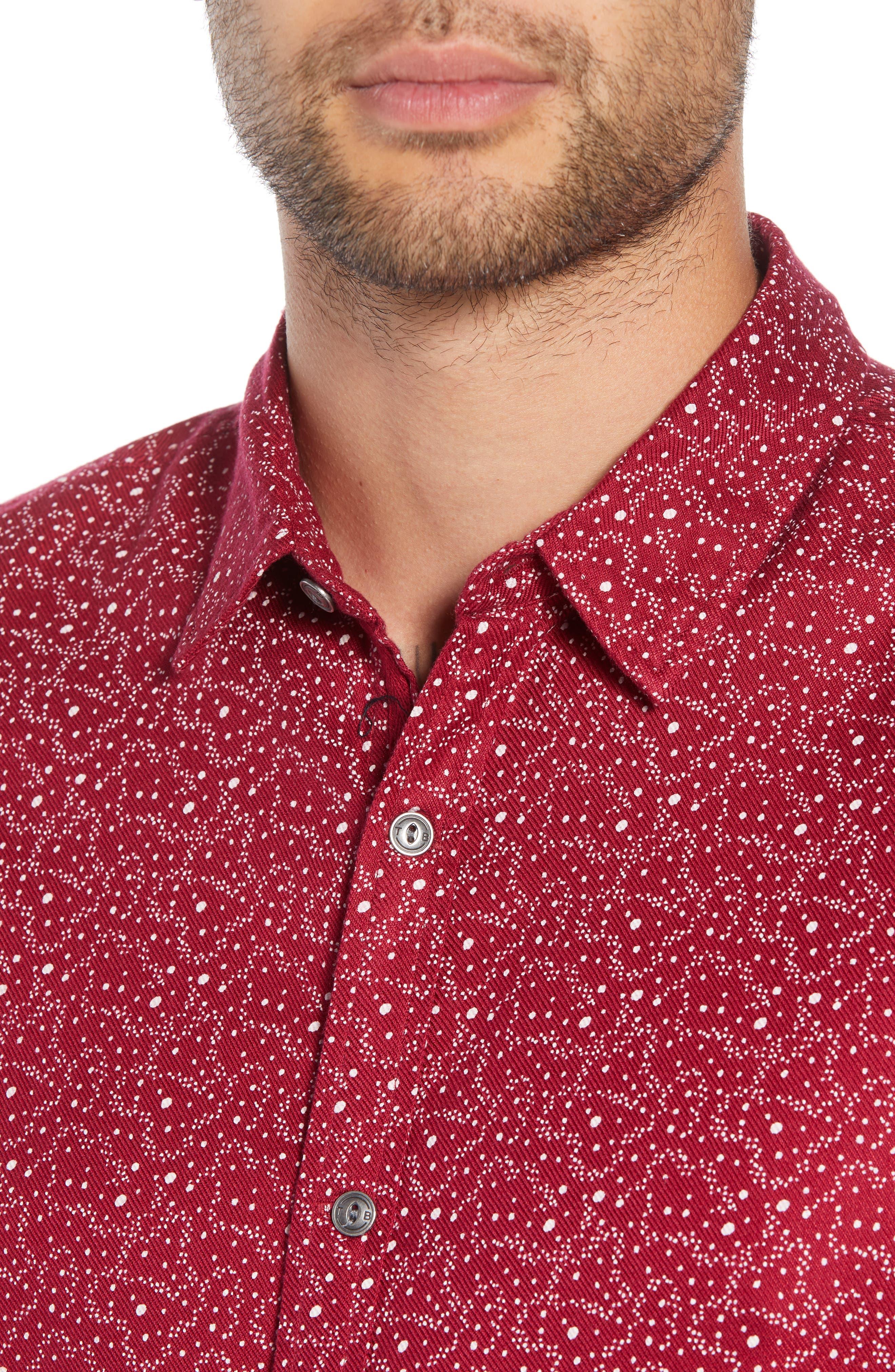 Trim Fit Print Sport Shirt,                             Alternate thumbnail 4, color,                             RED RUMBA CENTAURI