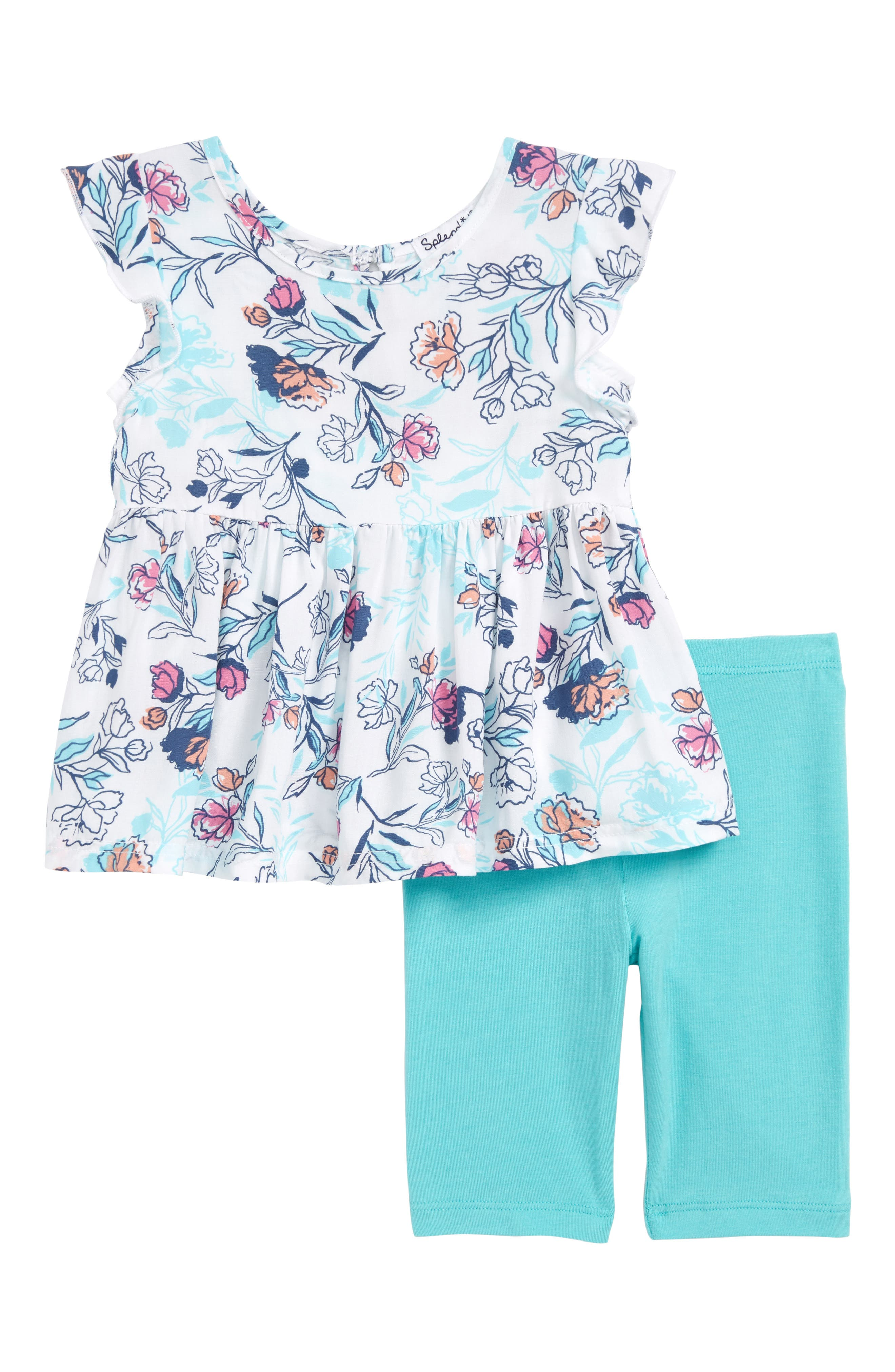 Floral Print Top & Leggings Set,                             Main thumbnail 1, color,                             900
