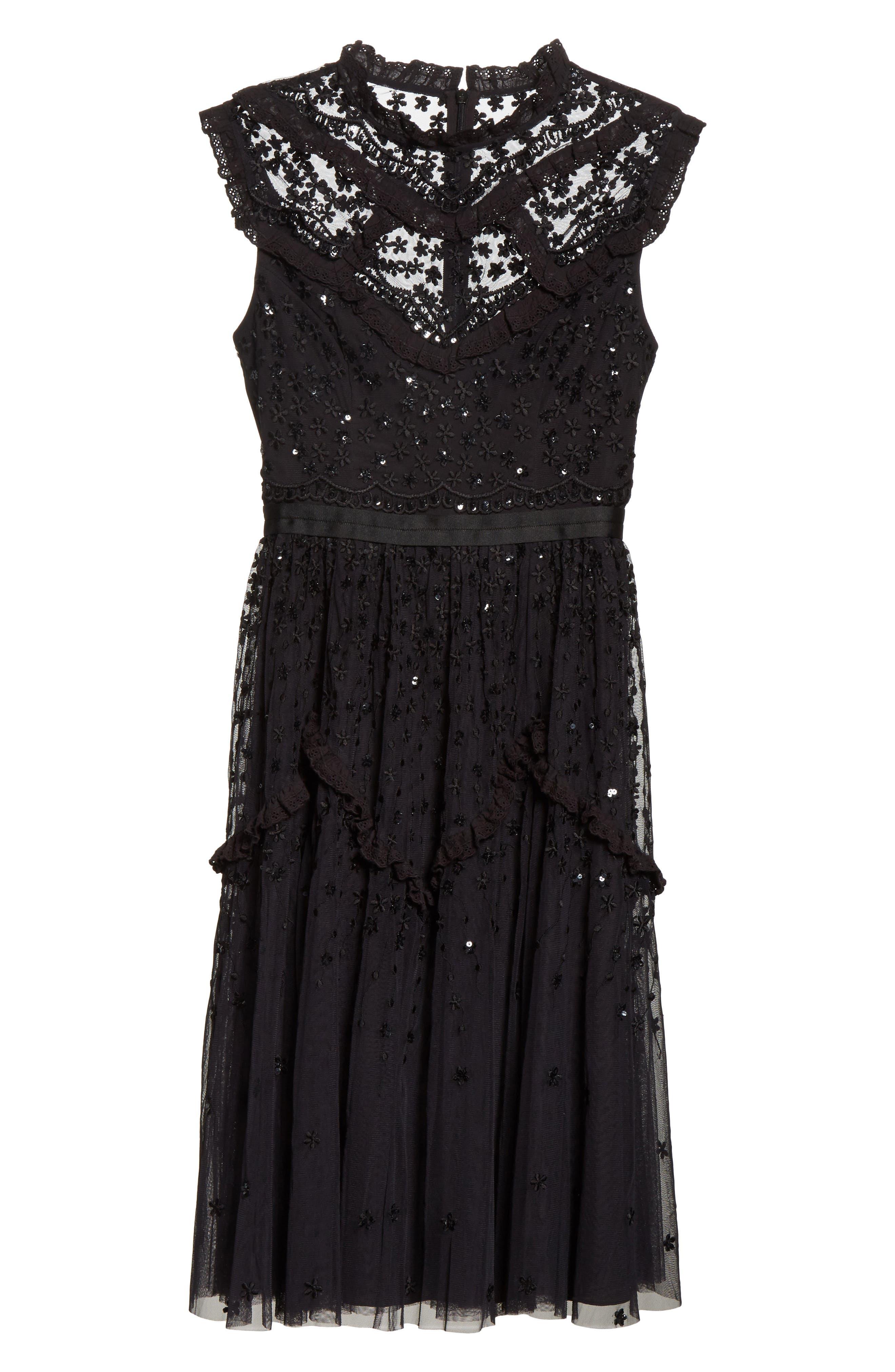 Daisy Shimmer Dress,                             Alternate thumbnail 6, color,                             001