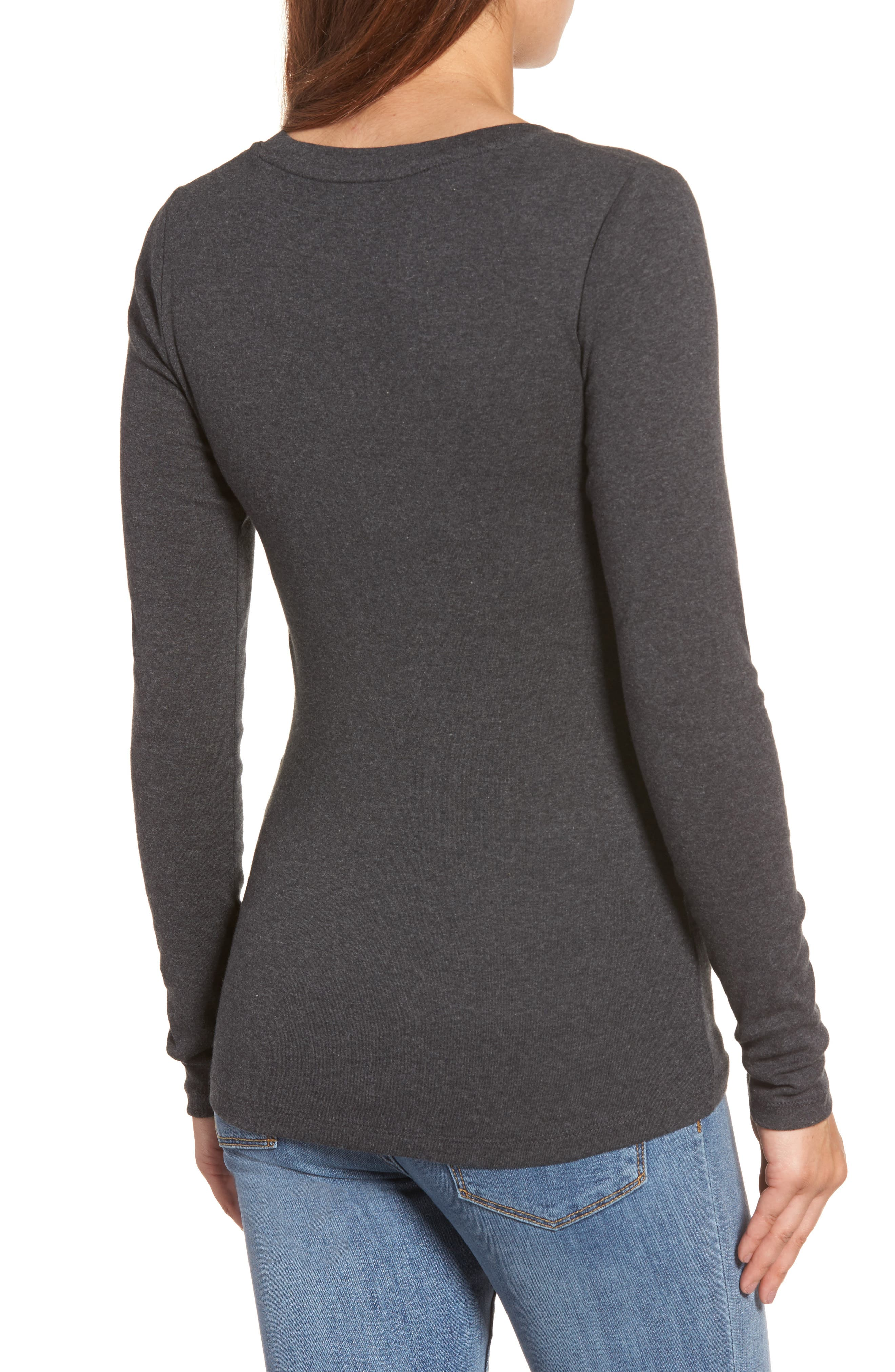 CASLON<SUP>®</SUP>,                             'Melody' Long Sleeve Scoop Neck Tee,                             Alternate thumbnail 2, color,                             HEATHER CHARCOAL