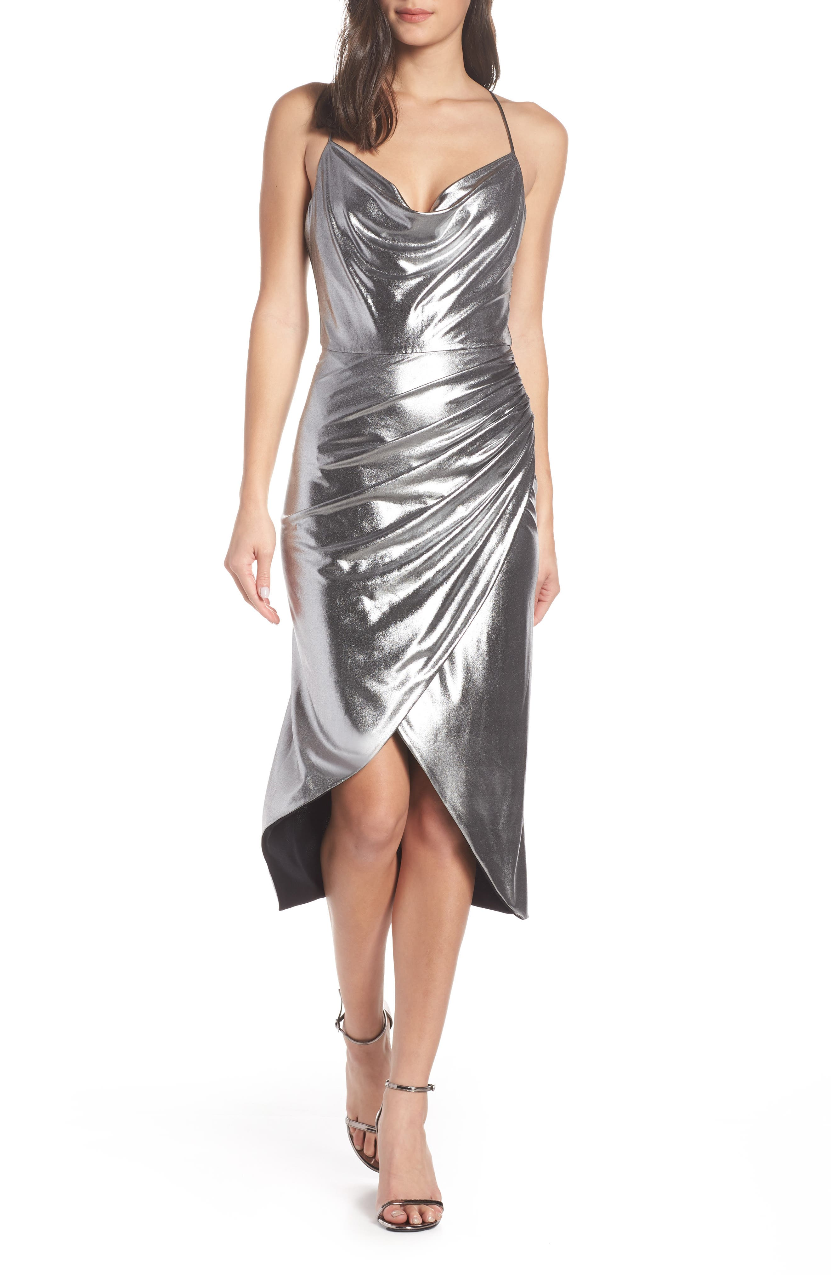 Runway Dress,                         Main,                         color, SILVER