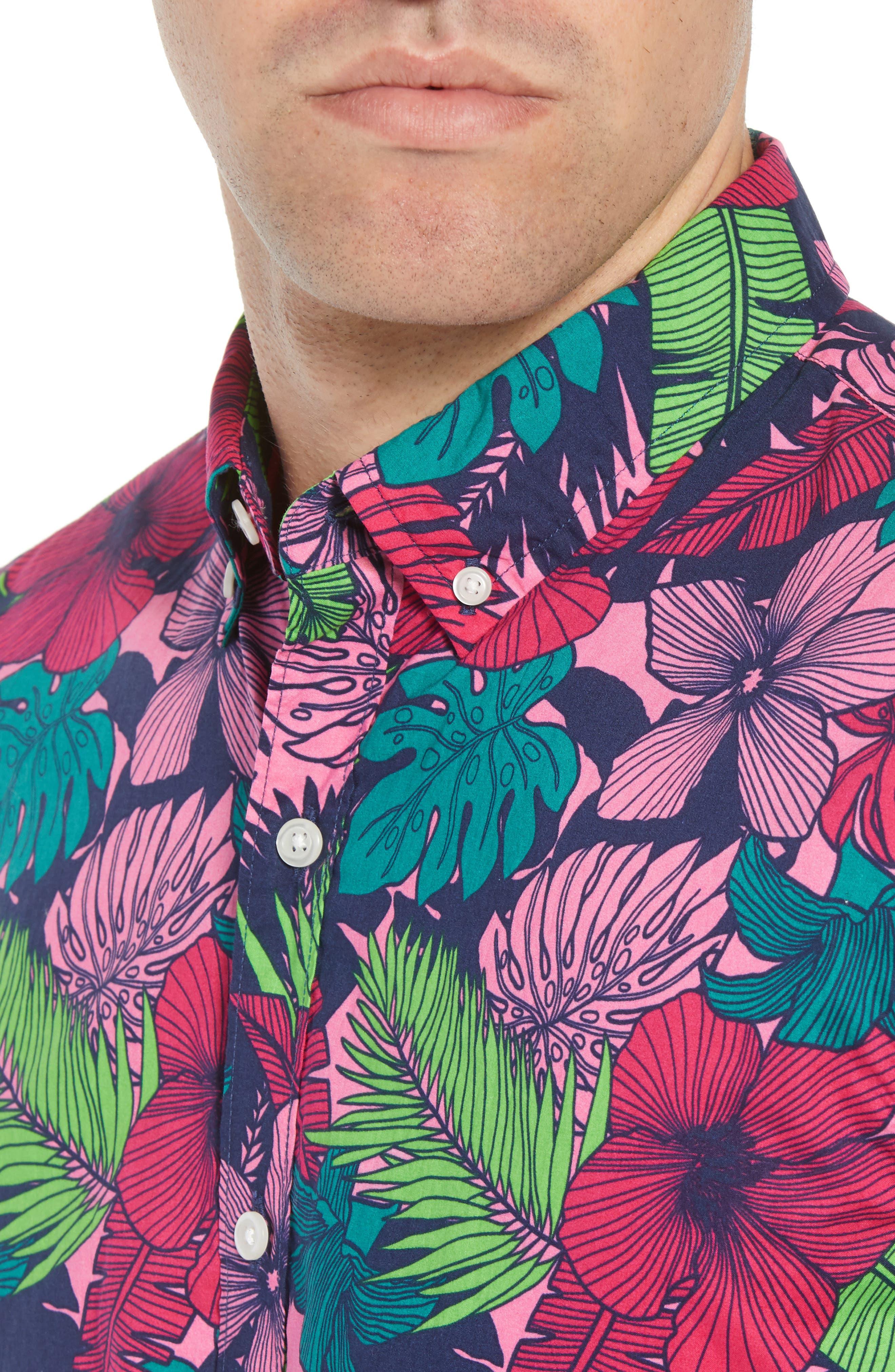 Slim Fit Floral Print Sport Shirt,                             Alternate thumbnail 4, color,