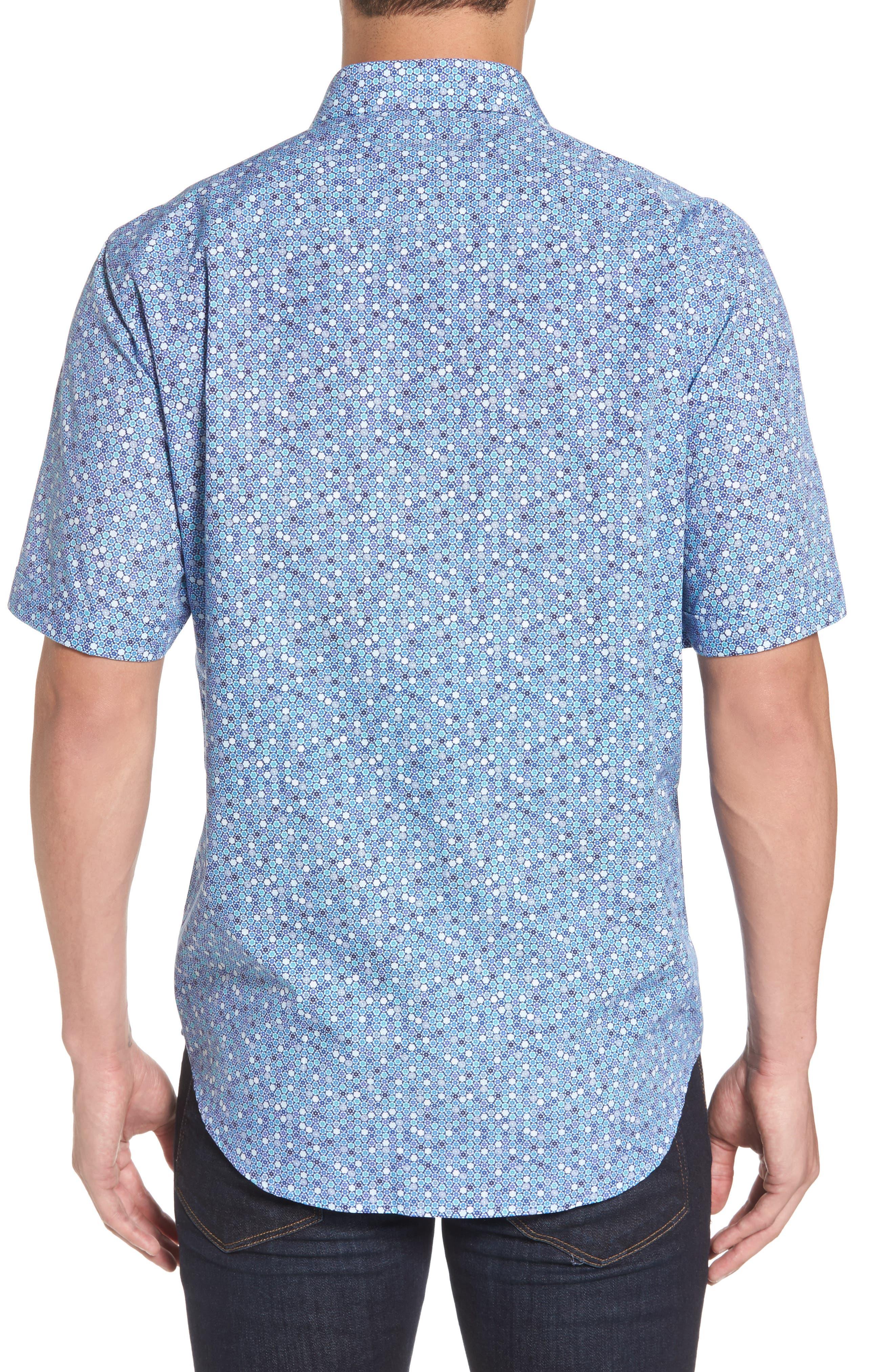 Classic Fit Flower Print Sport Shirt,                             Alternate thumbnail 2, color,