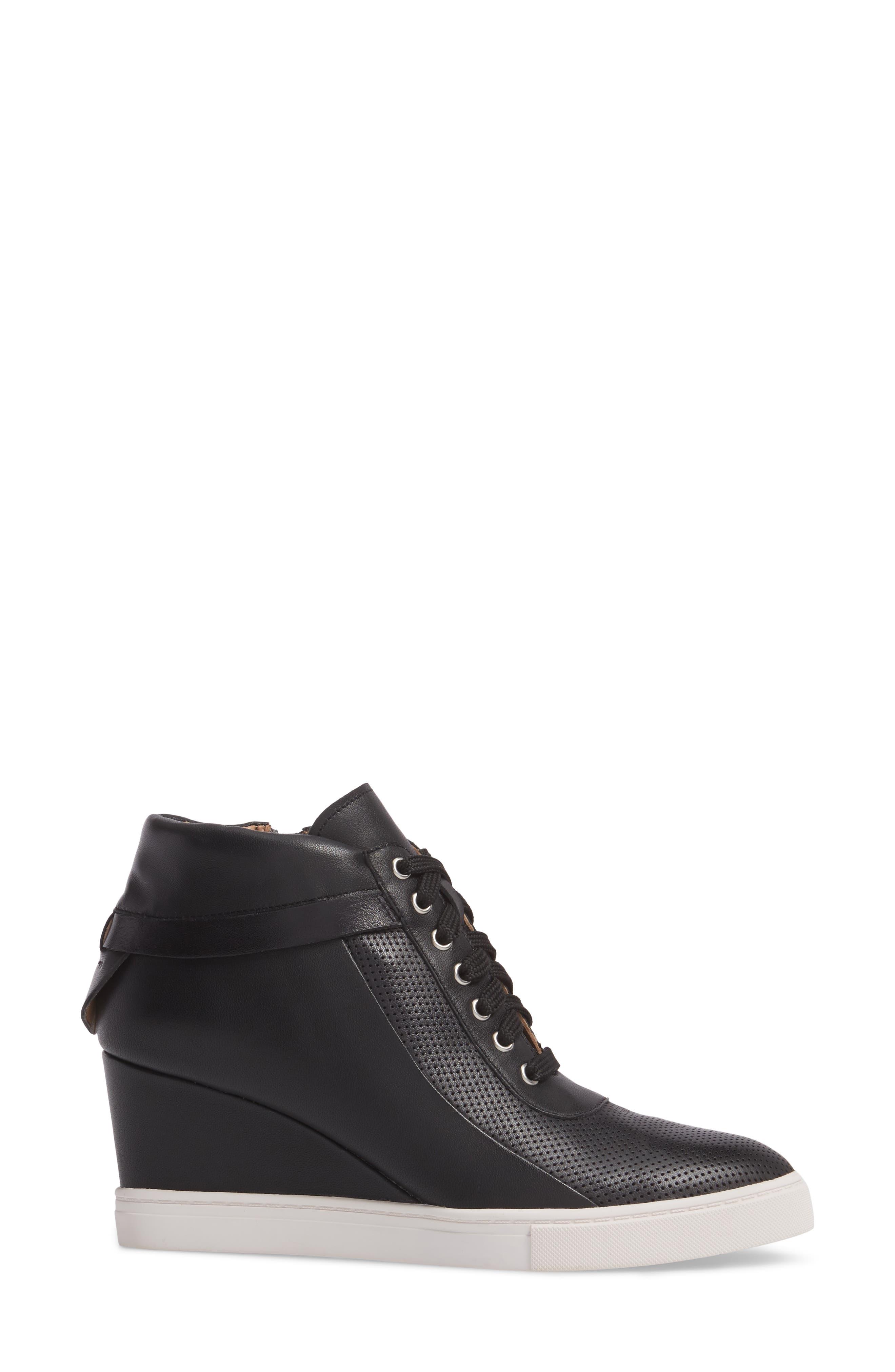 Freja Wedge Sneaker,                             Alternate thumbnail 3, color,                             BLACK LEATHER