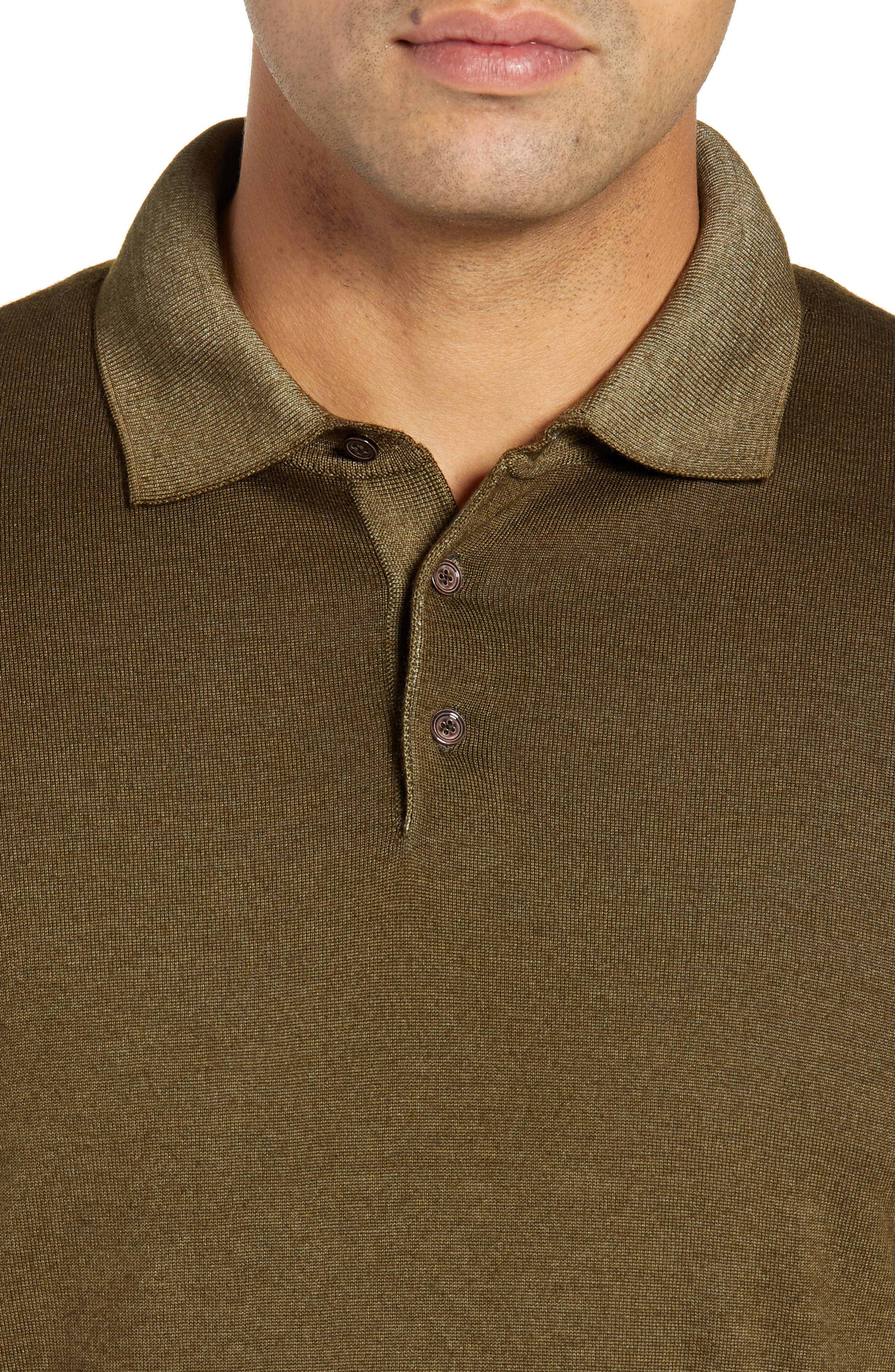 Dustin Wool Polo Sweater,                             Alternate thumbnail 4, color,                             GREEN