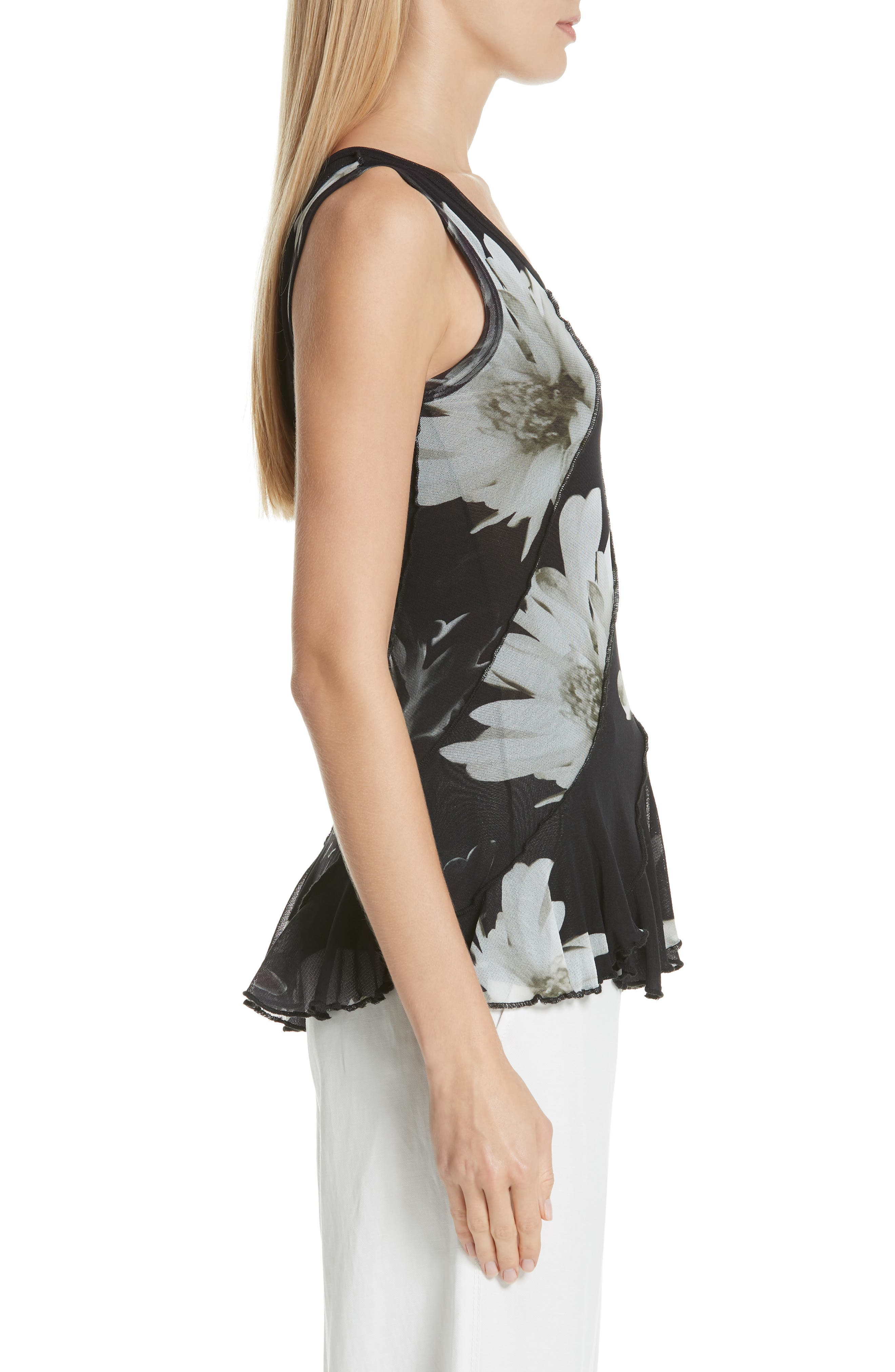 FUZZI,                             Floral Tulle Peplum Top,                             Alternate thumbnail 3, color,                             NERO
