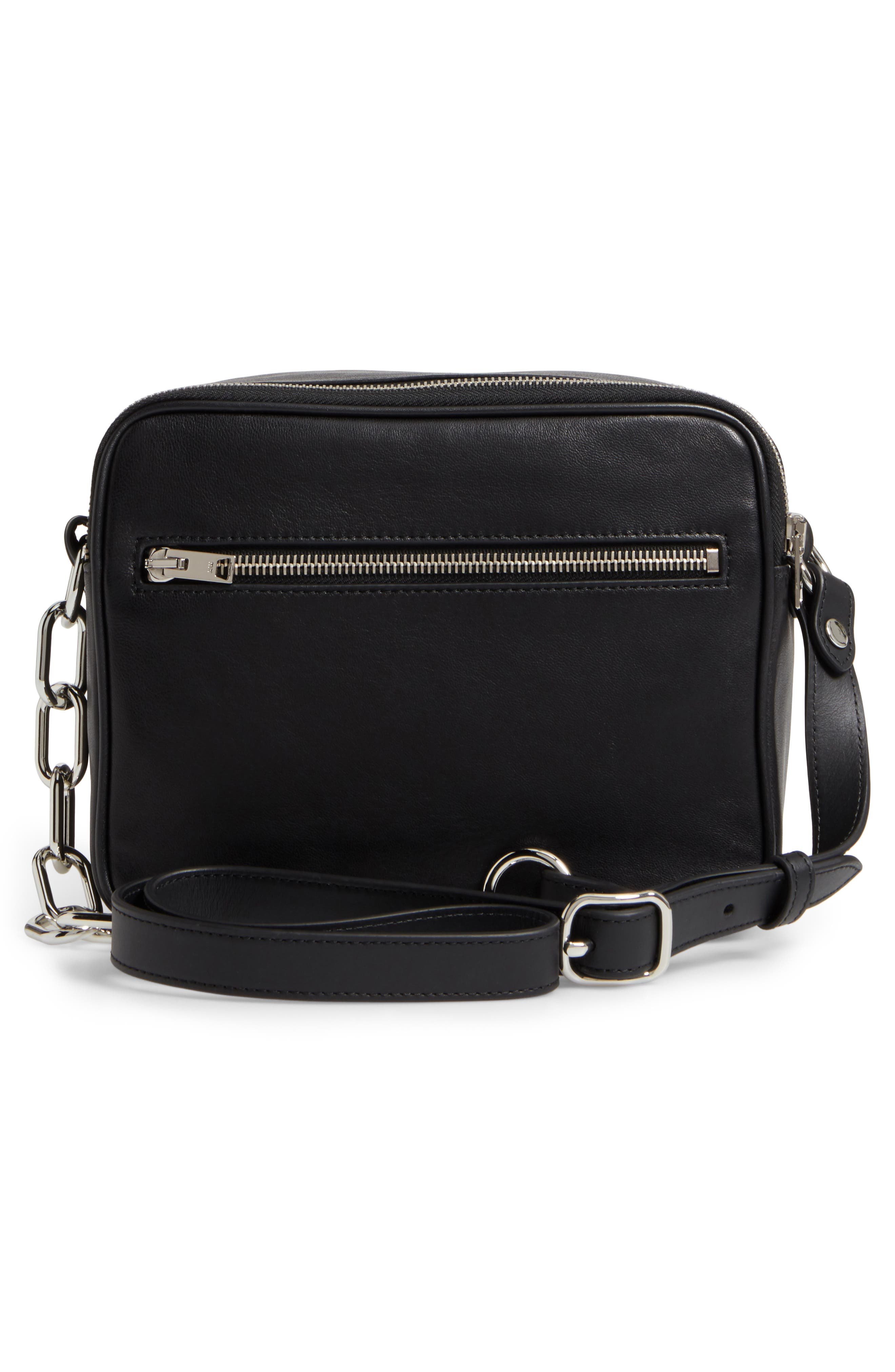 Washed Leather Crossbody Bag,                             Alternate thumbnail 3, color,                             BLACK