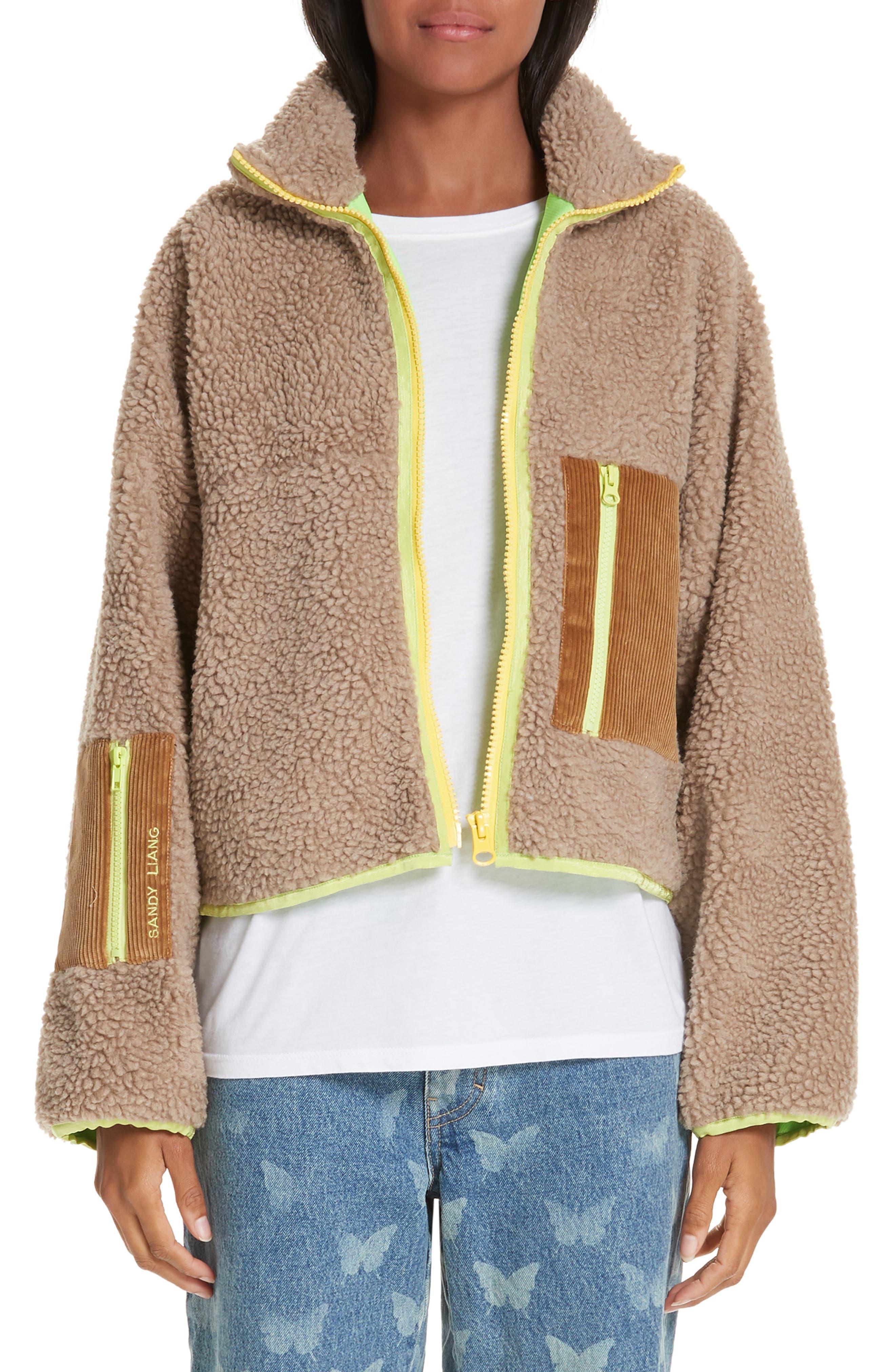 Sandy Liang Neon Trim Fleece Jacket