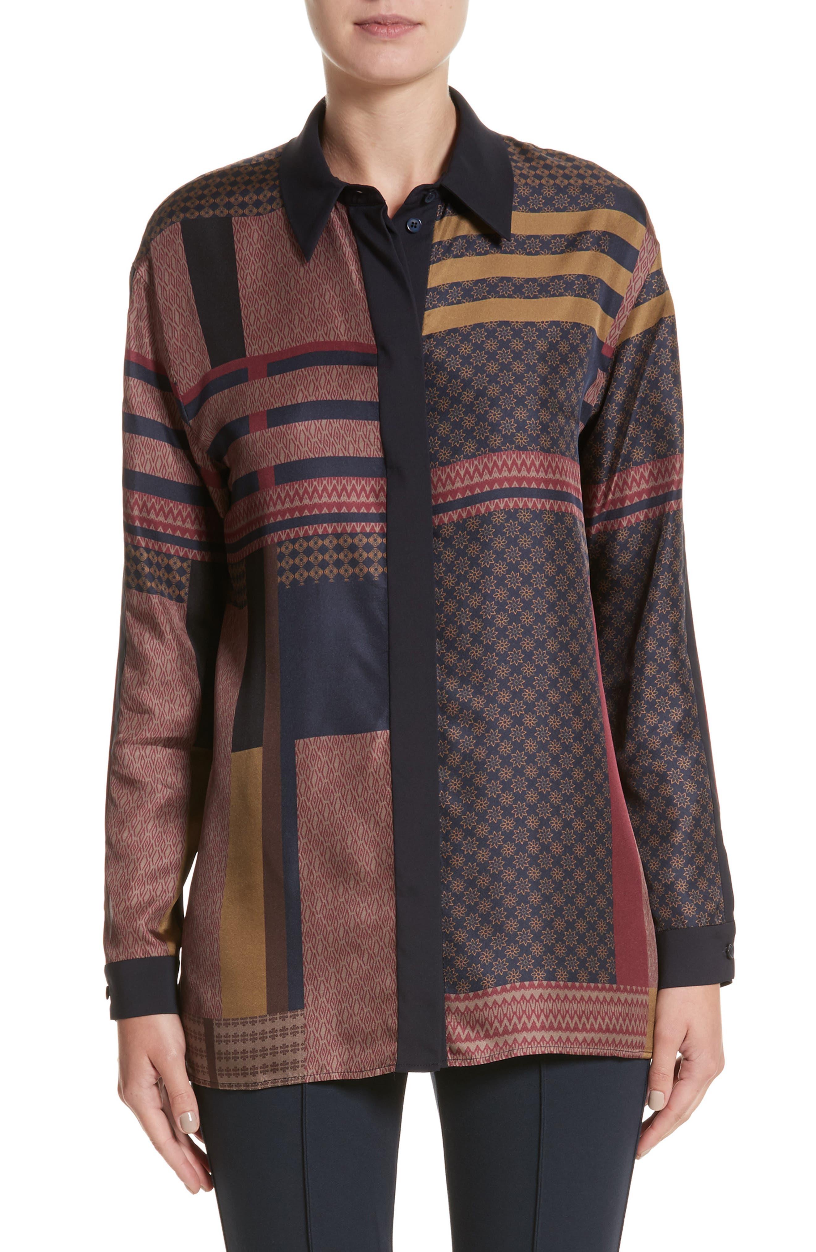 Sabel Patchwork Silk Blouse,                         Main,                         color, 438