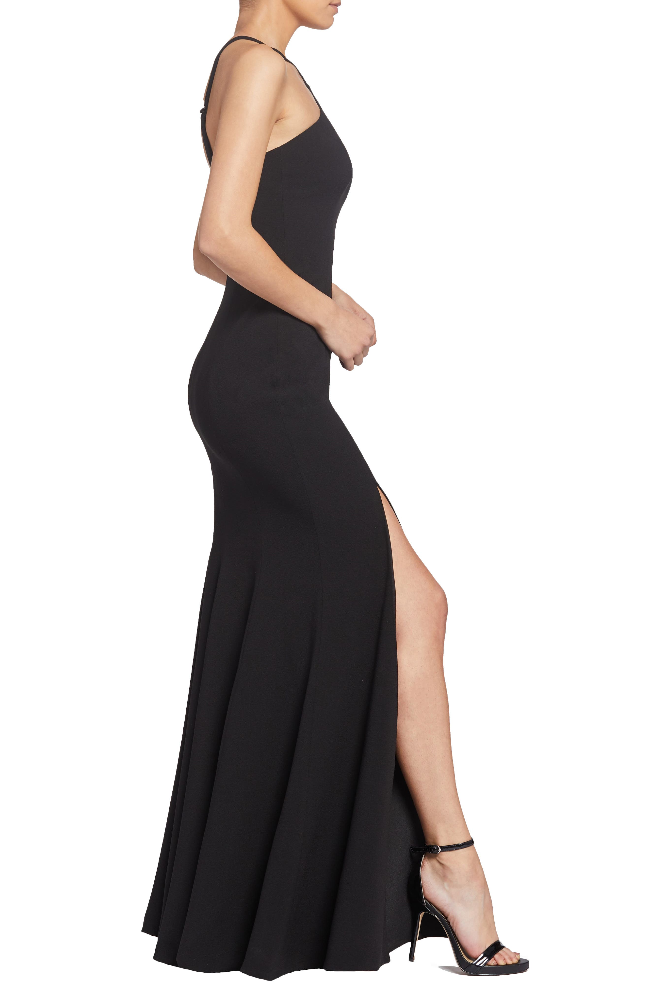 Brianna Halter Style Trumpet Gown,                             Alternate thumbnail 3, color,                             BLACK