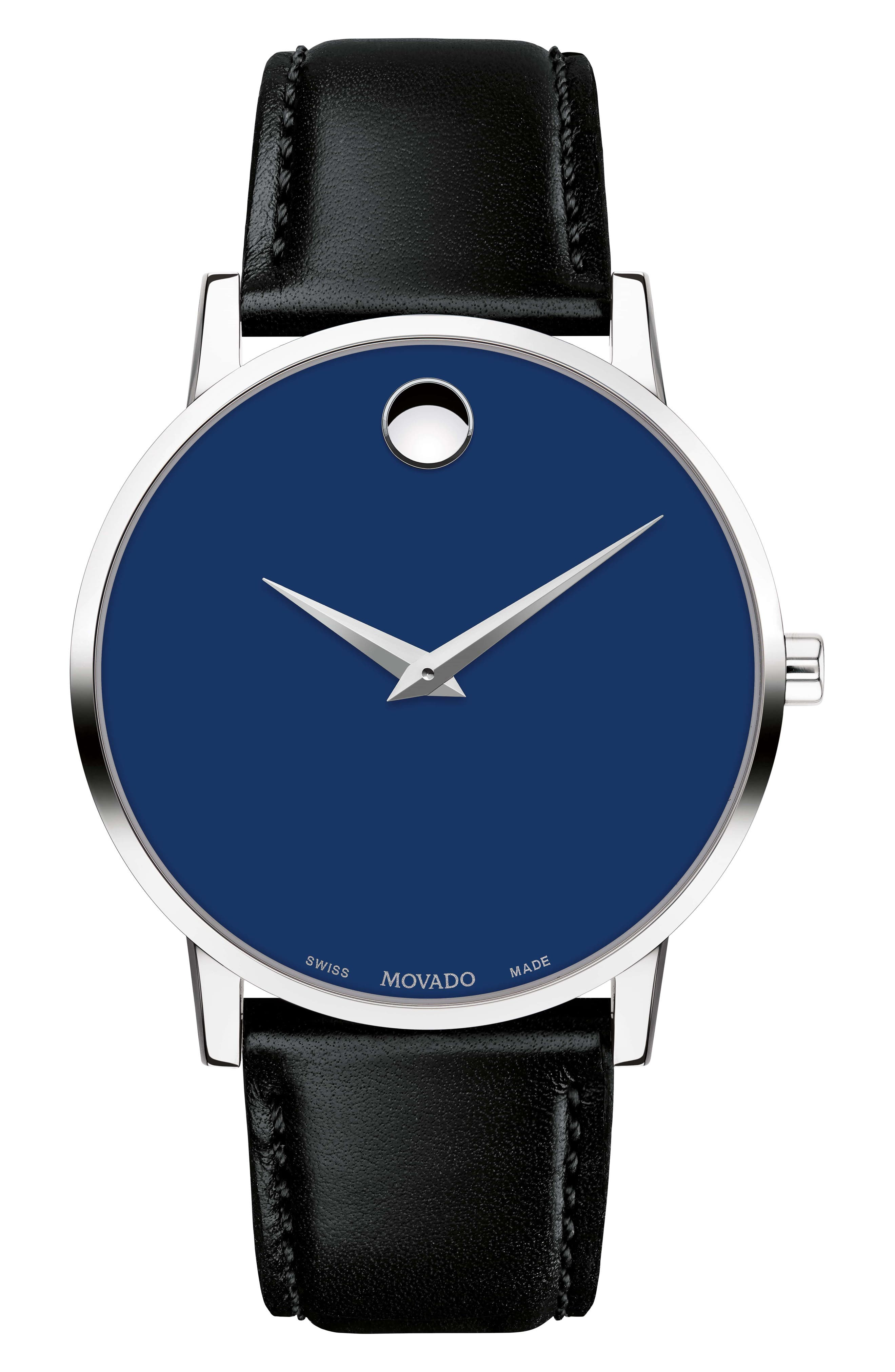Leather Strap Watch, 40mm,                         Main,                         color, BLACK/ BLUE/ SILVER