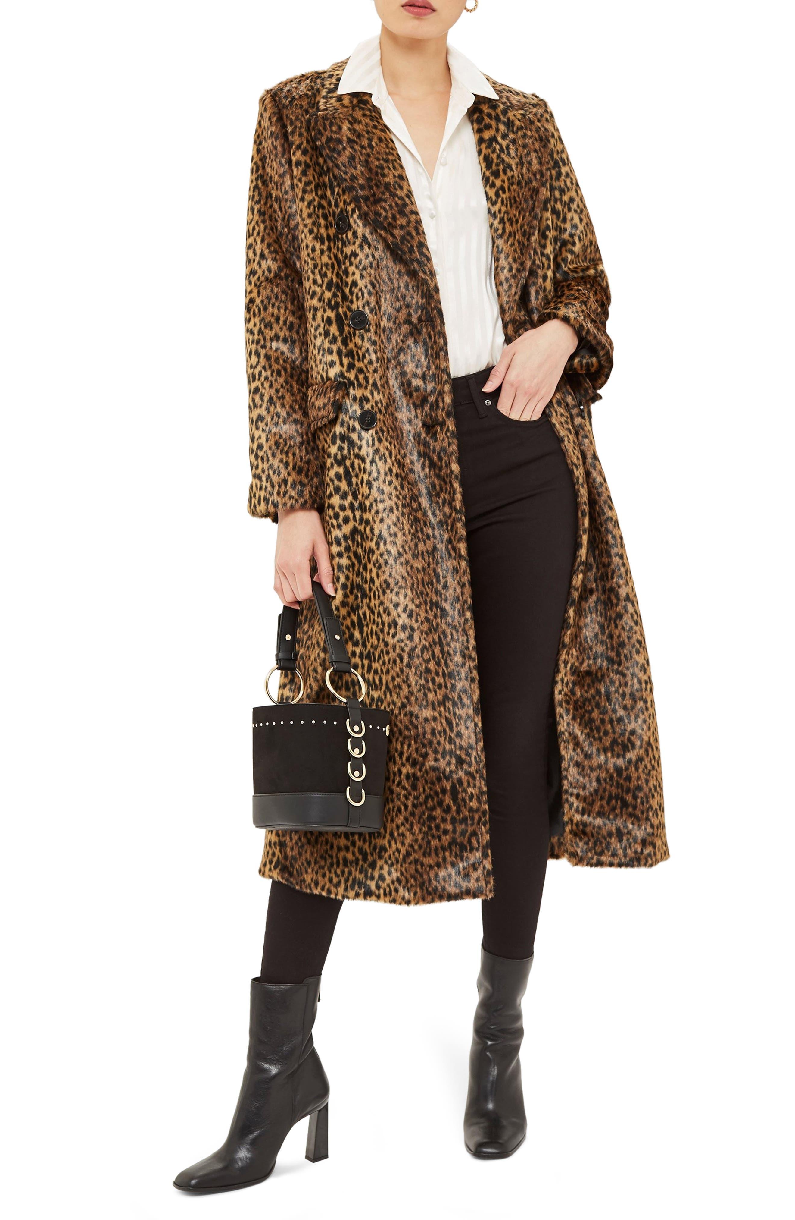 TOPSHOP,                             Toni Faux Fur Leopard Long Coat,                             Main thumbnail 1, color,                             200