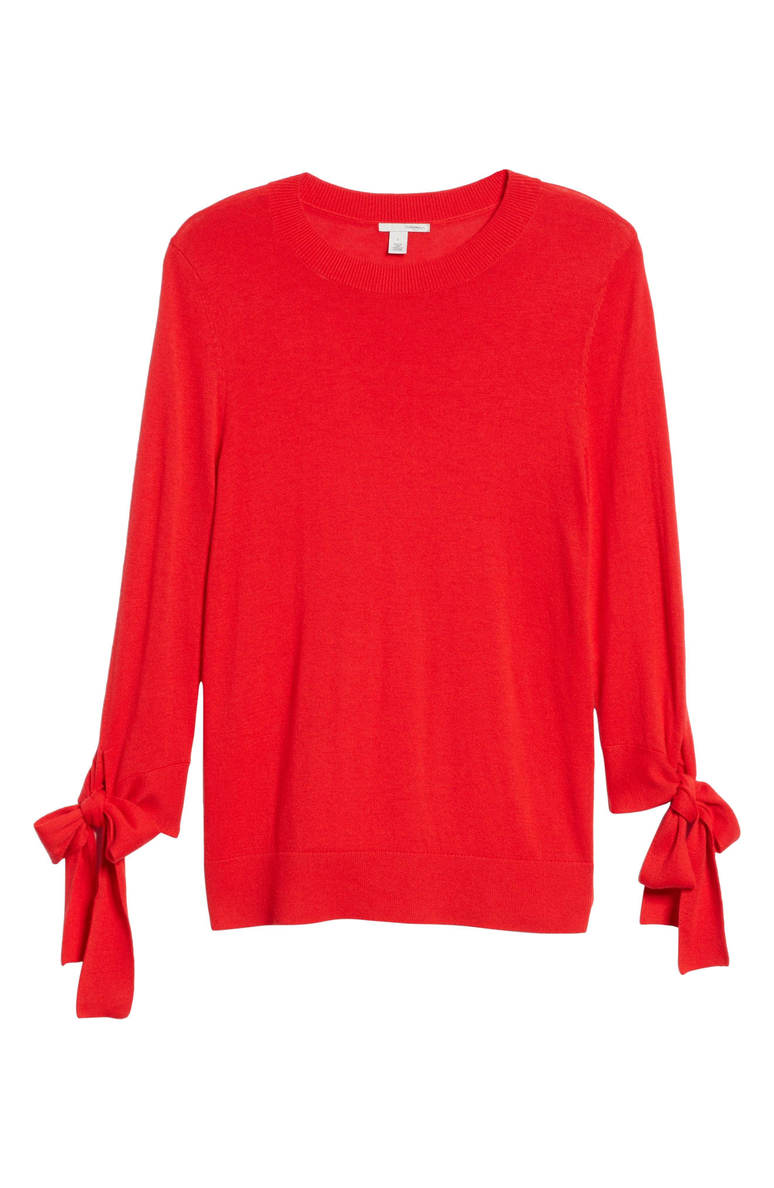 Tie Sleeve Crewneck Sweater,                             Alternate thumbnail 6, color,                             RED CHINOISE