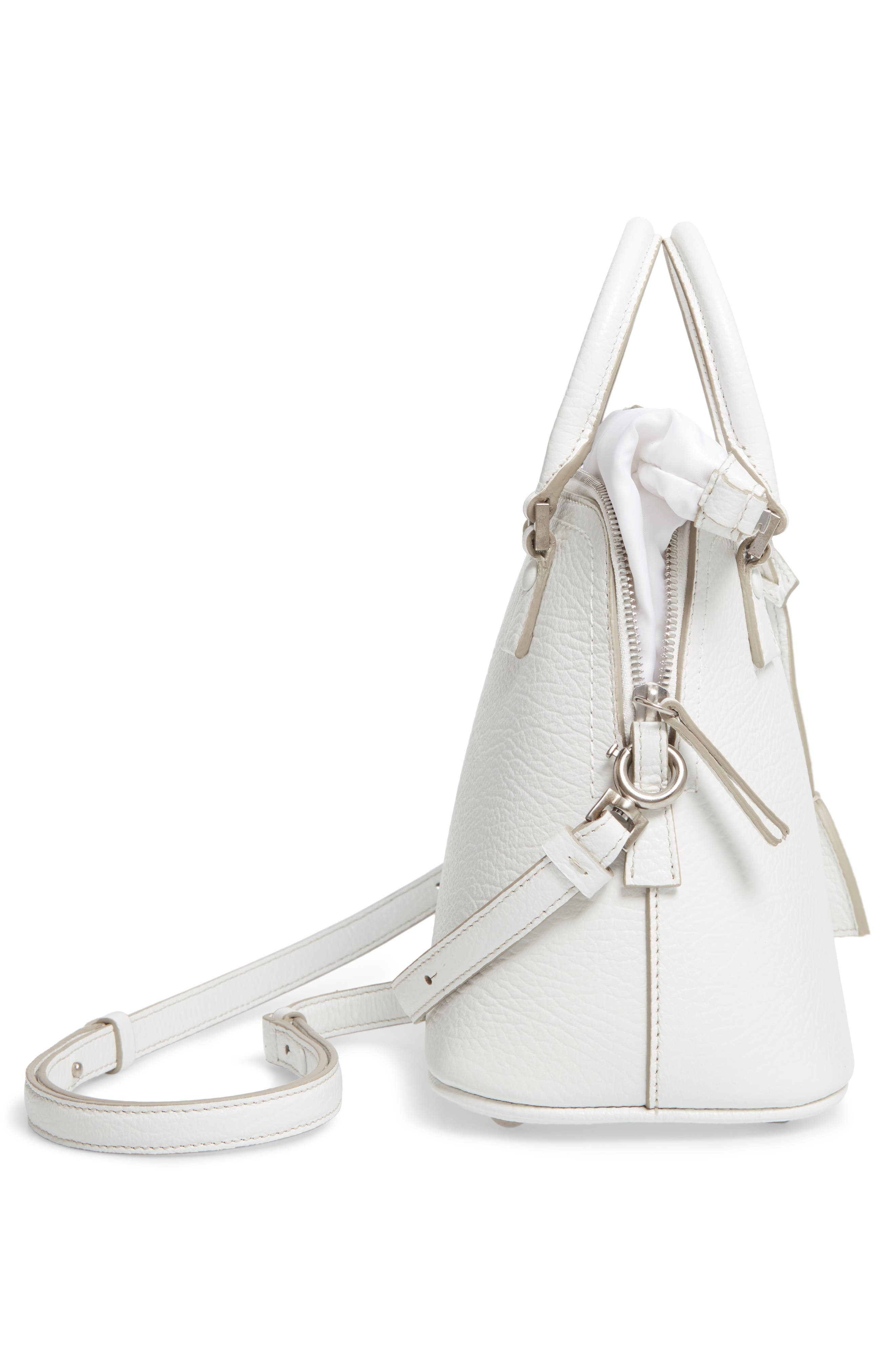 Small 5AC Calfskin Leather Handbag,                             Alternate thumbnail 6, color,                             WHITE