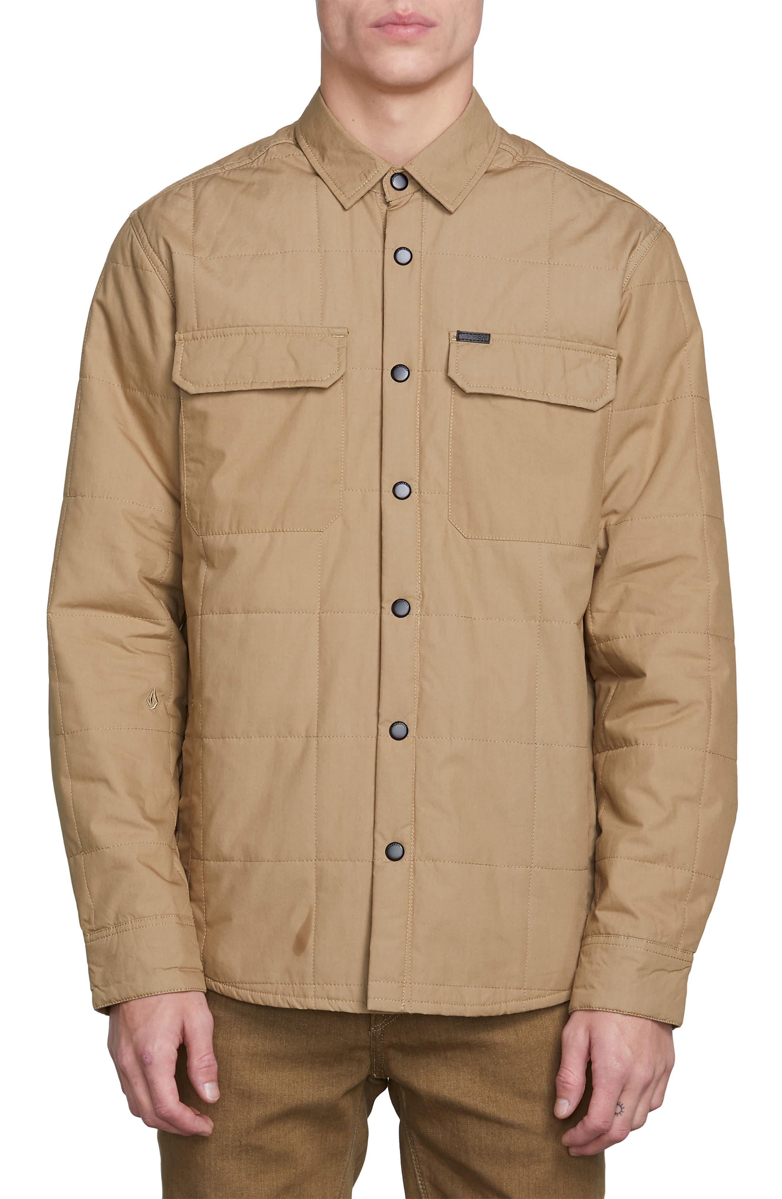 Larkin Quilted Shirt Jacket,                             Alternate thumbnail 3, color,                             BROWN SAND