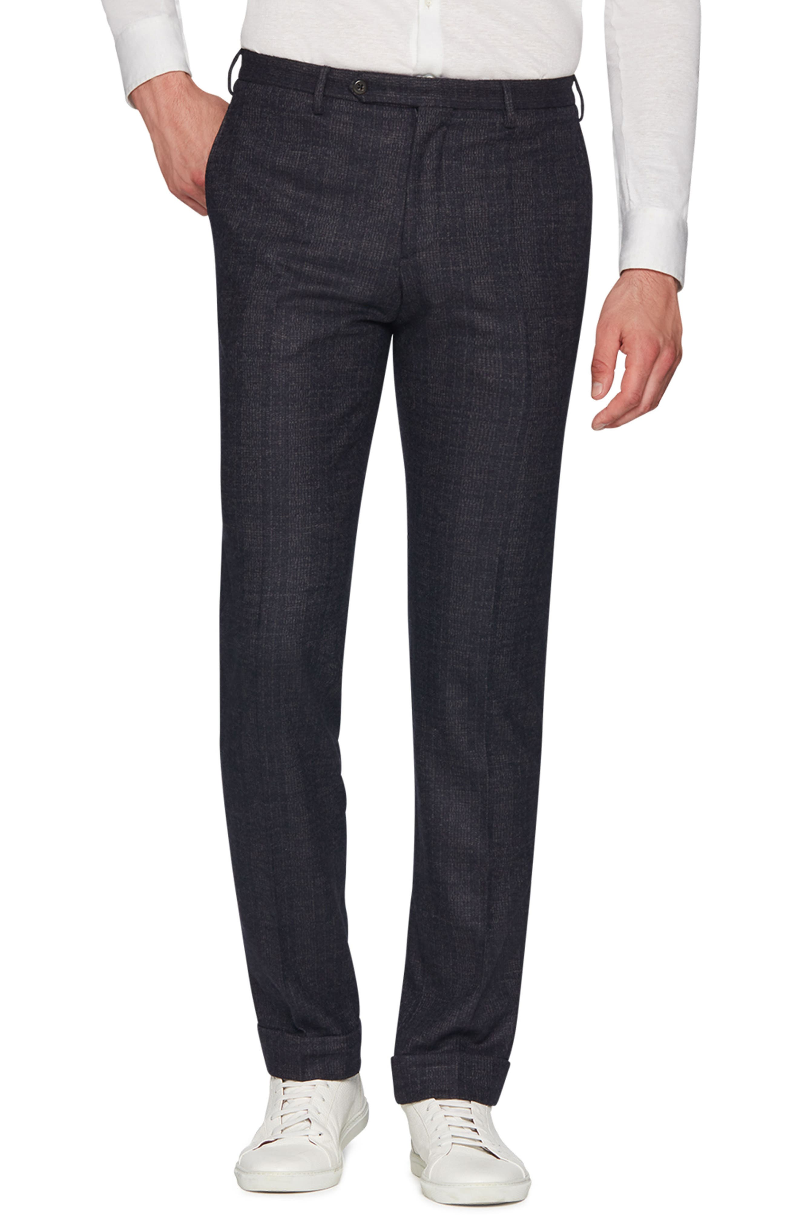 Josh Wool Blend Jersey Trousers,                             Main thumbnail 1, color,                             NAVY