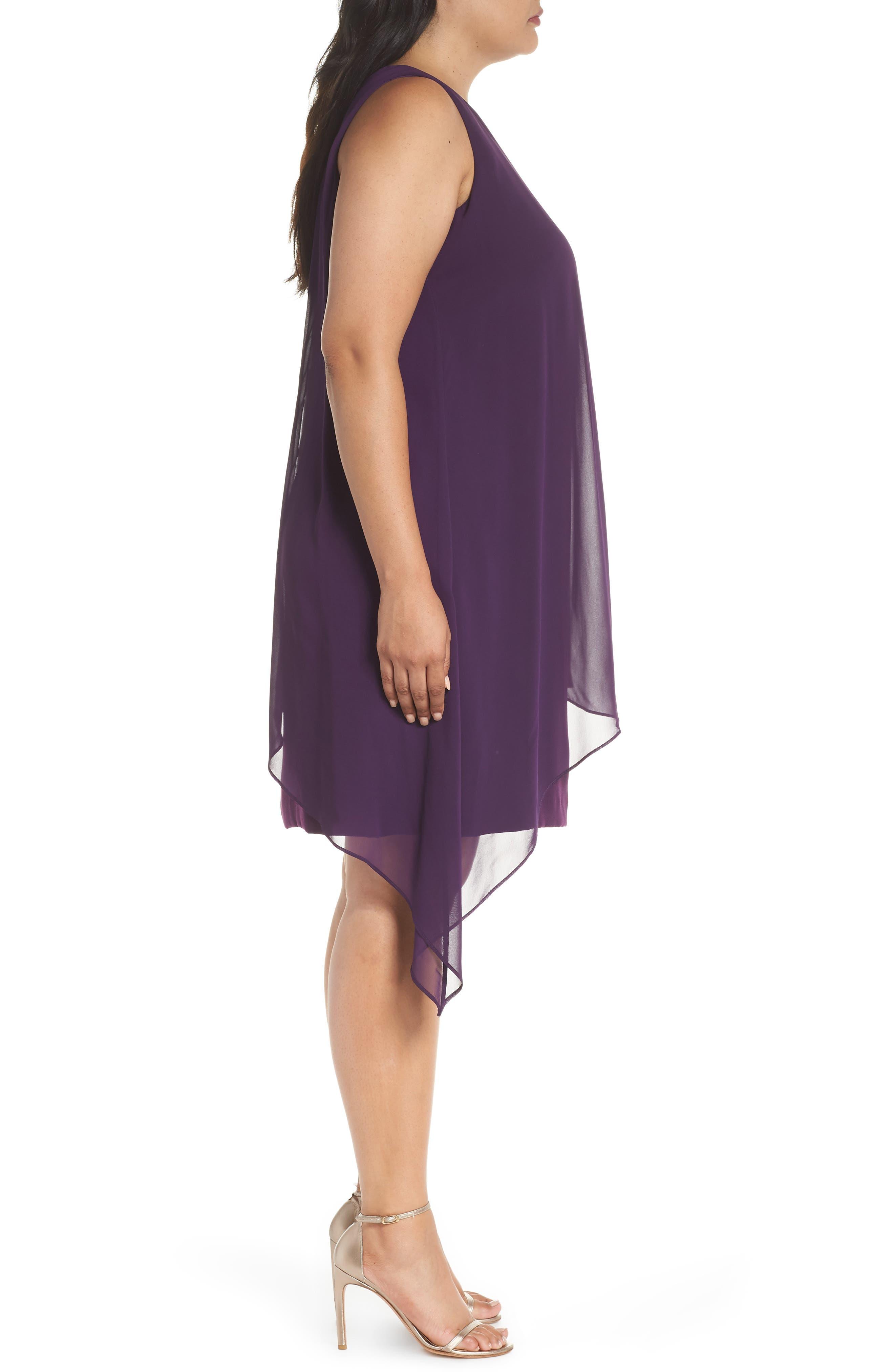 Sleeveless Overlay Crepe Sheath Dress,                             Alternate thumbnail 3, color,                             515