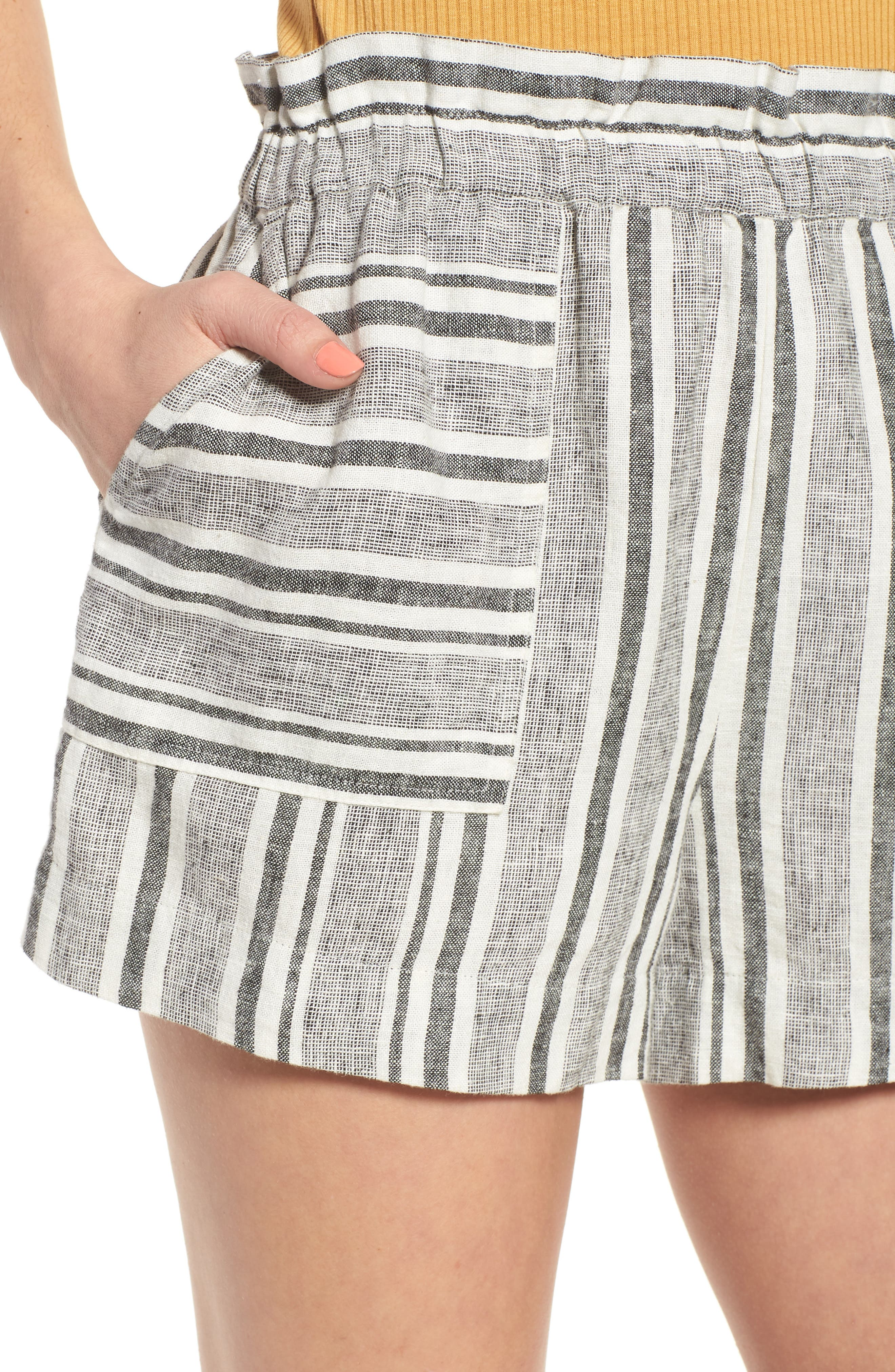 Stripe Linen Blend Shorts,                             Alternate thumbnail 4, color,                             BLACK VIOLA STRIPE